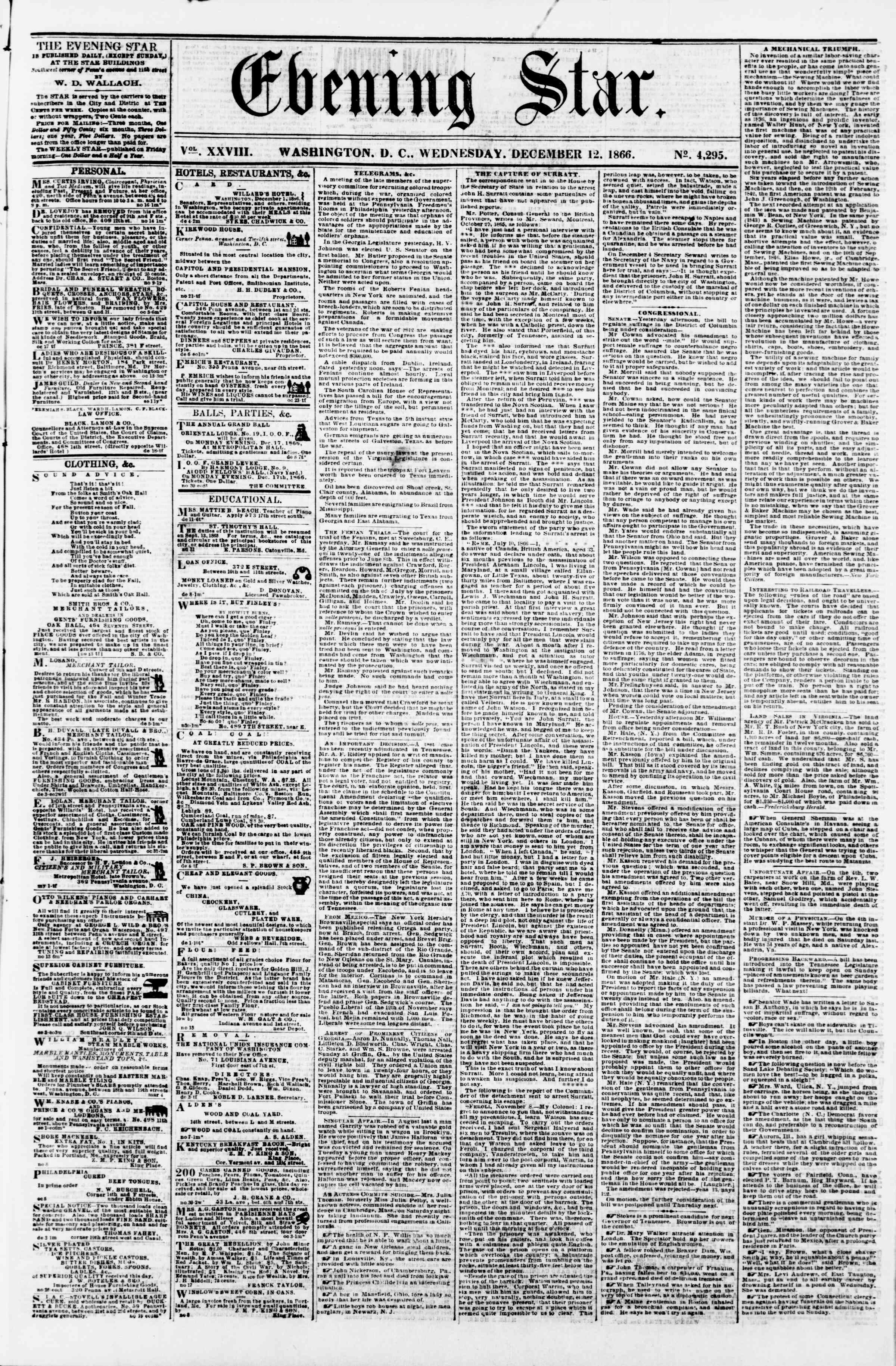 Newspaper of Evening Star dated December 12, 1866 Page 1