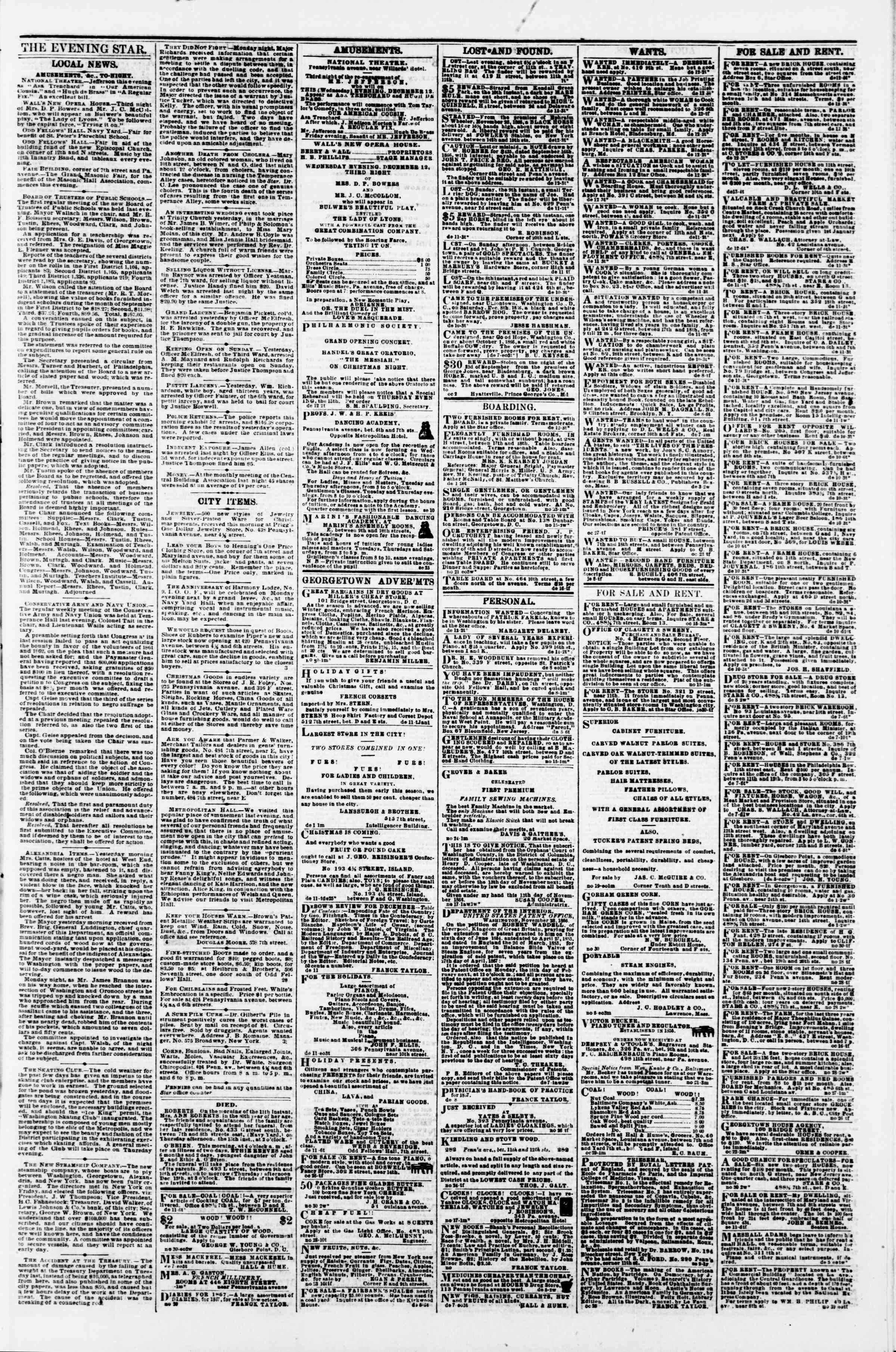 Newspaper of Evening Star dated December 12, 1866 Page 3