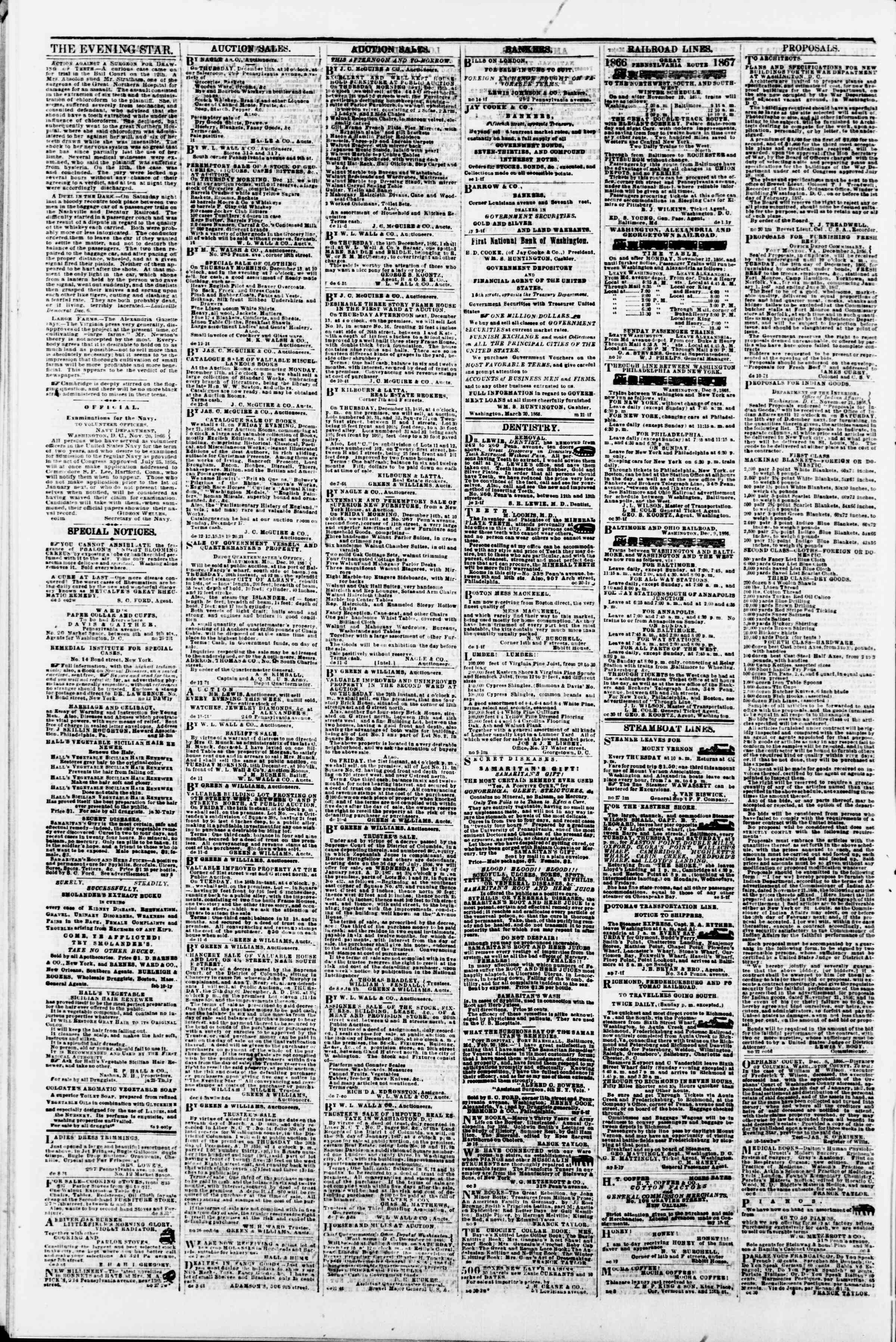 Newspaper of Evening Star dated December 12, 1866 Page 4
