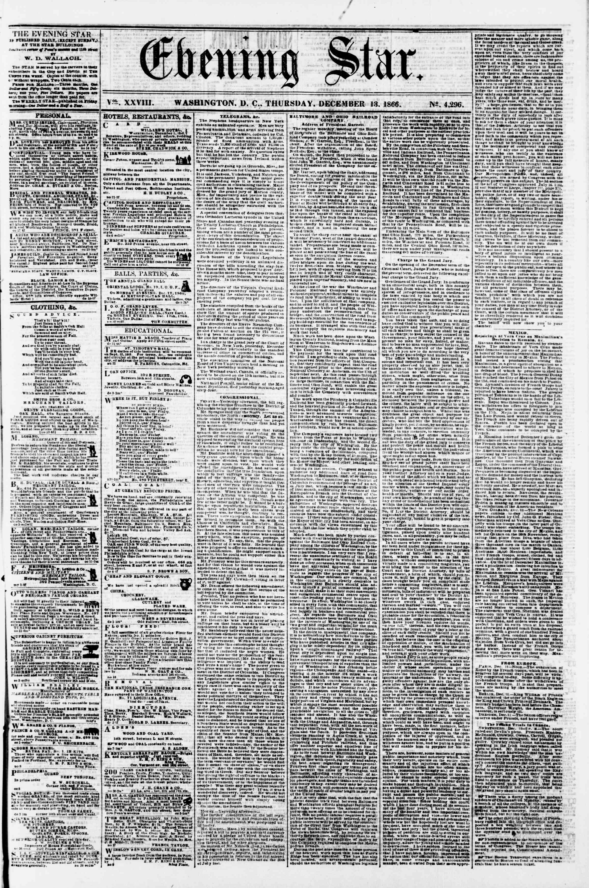 Newspaper of Evening Star dated December 13, 1866 Page 1