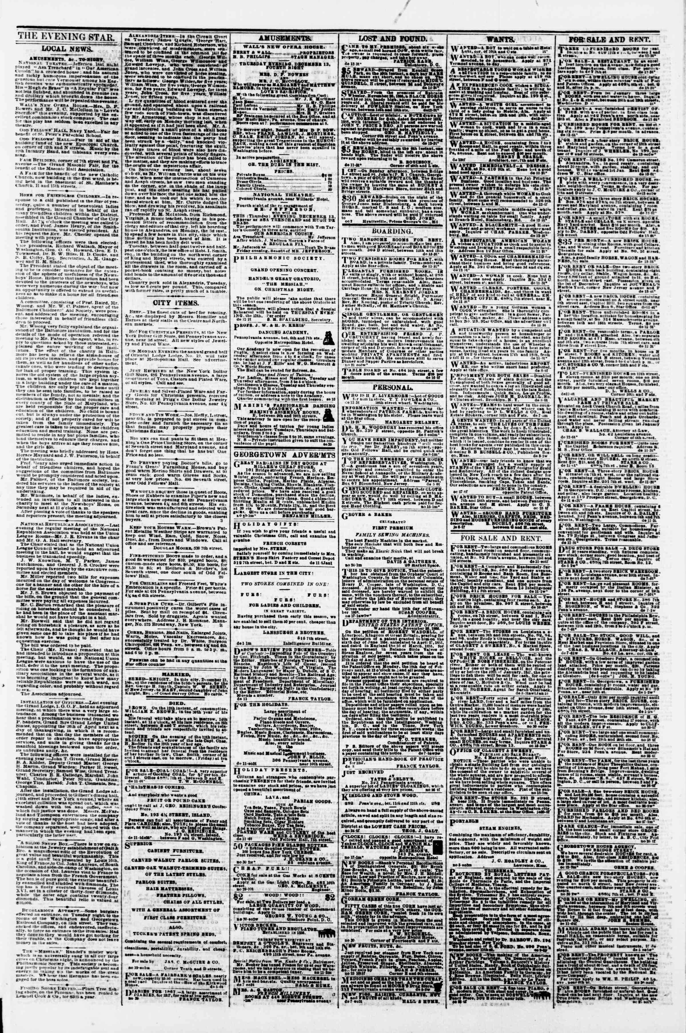 Newspaper of Evening Star dated December 13, 1866 Page 3
