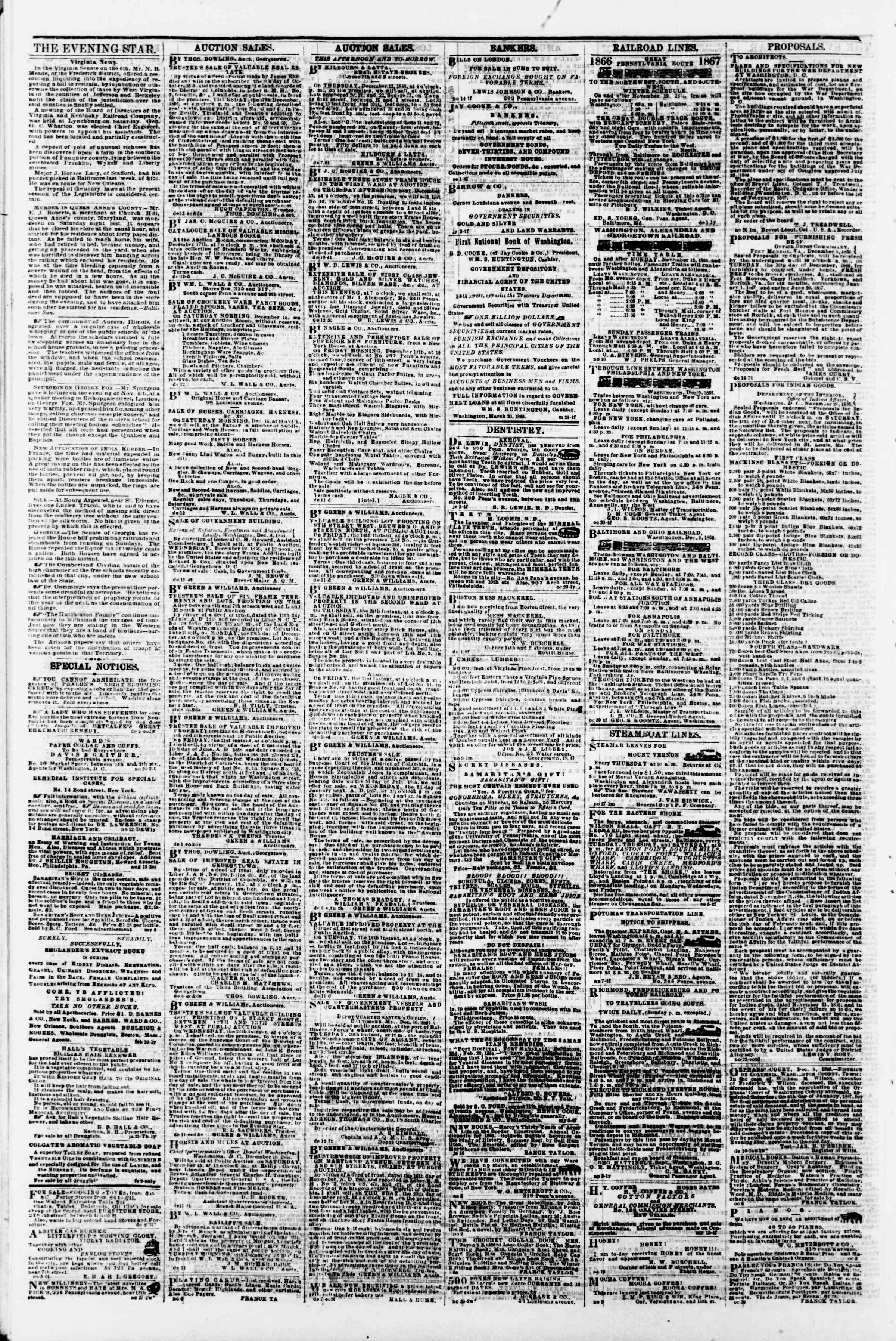 Newspaper of Evening Star dated December 13, 1866 Page 4