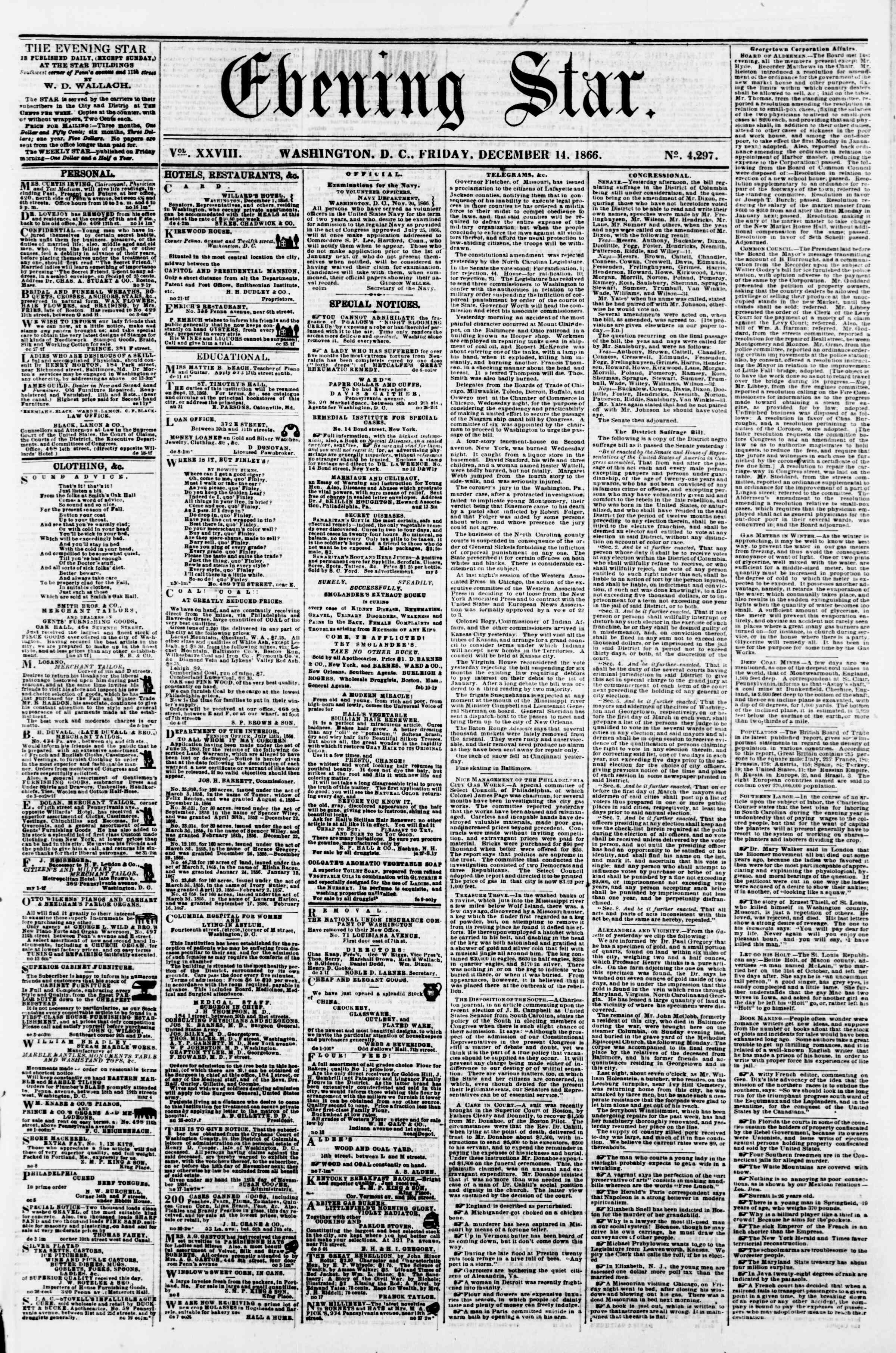 Newspaper of Evening Star dated December 14, 1866 Page 1