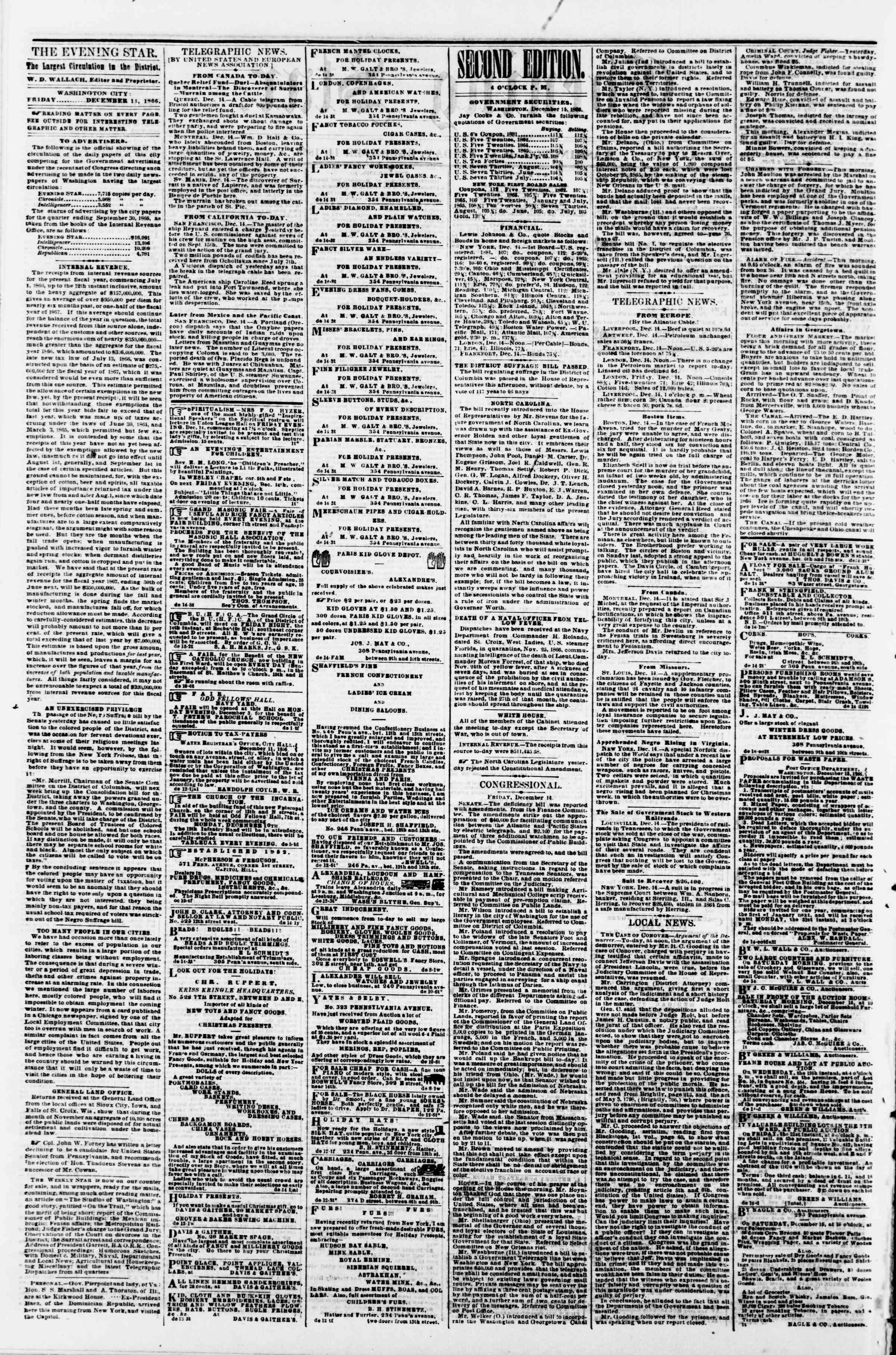Newspaper of Evening Star dated December 14, 1866 Page 2