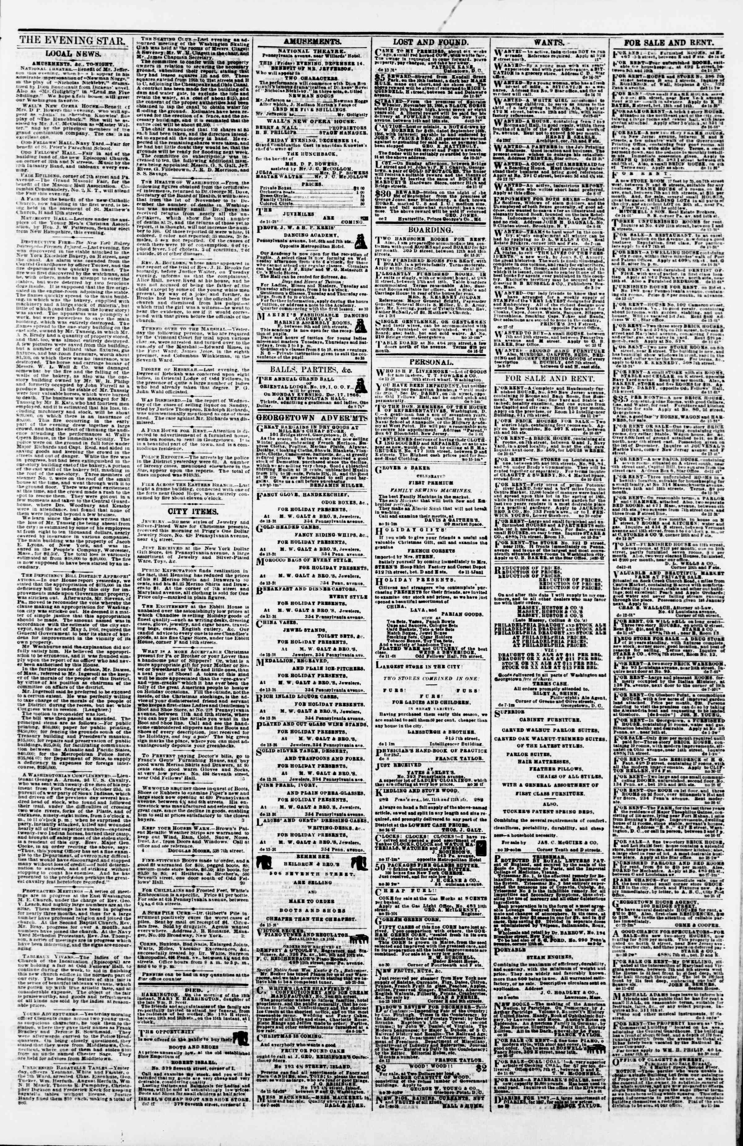 Newspaper of Evening Star dated December 14, 1866 Page 3