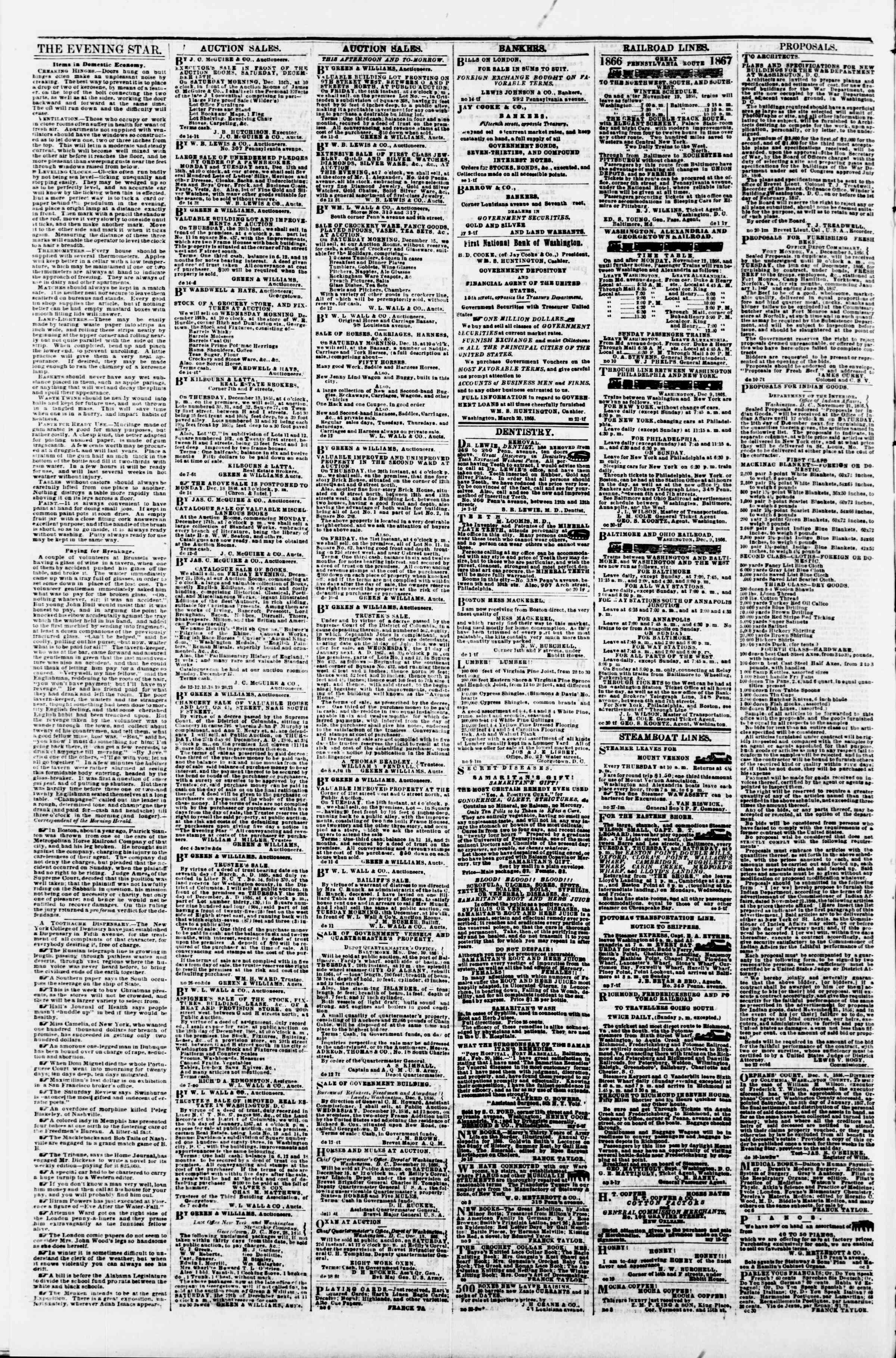 Newspaper of Evening Star dated December 14, 1866 Page 4