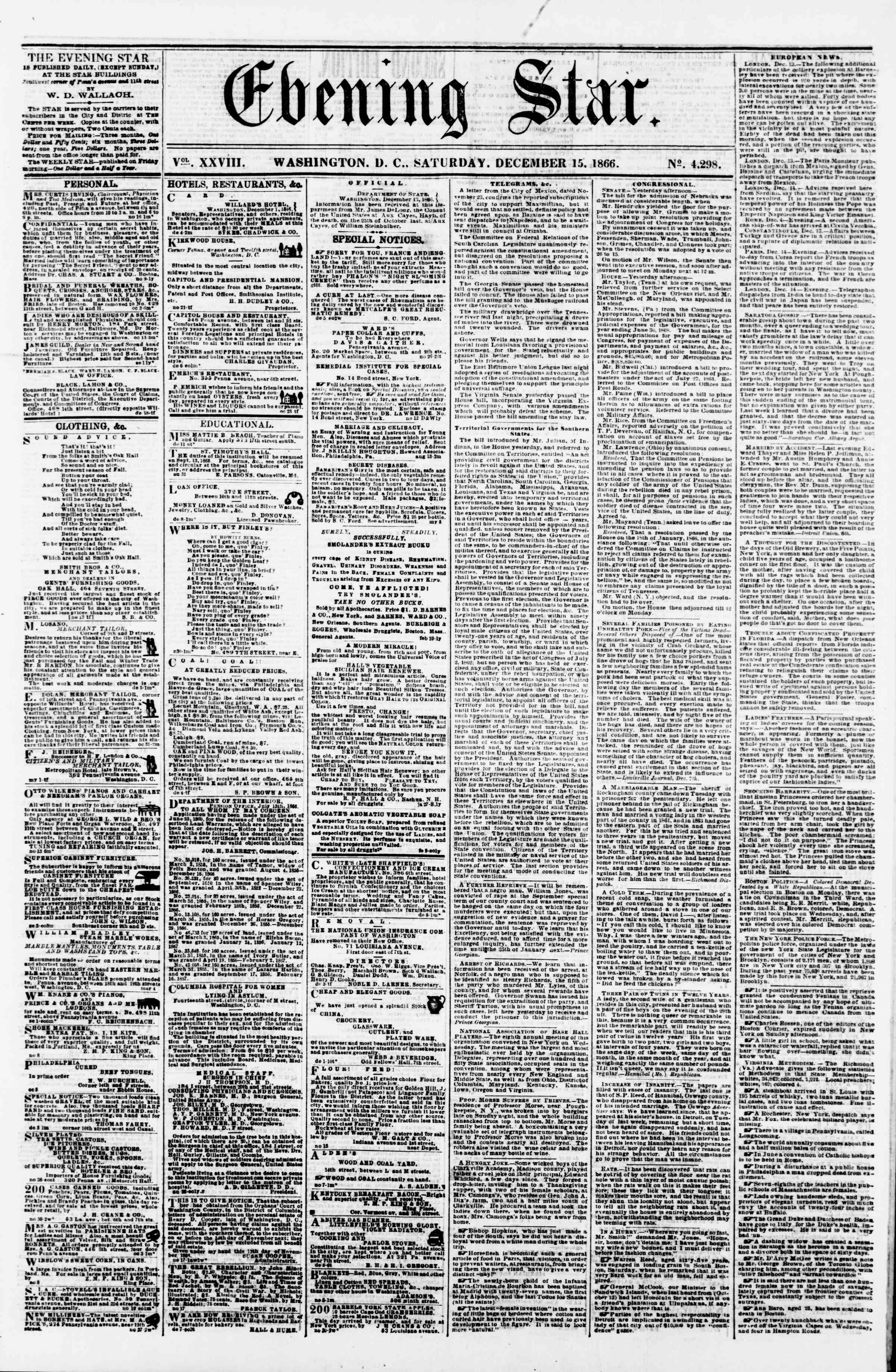 Newspaper of Evening Star dated December 15, 1866 Page 1