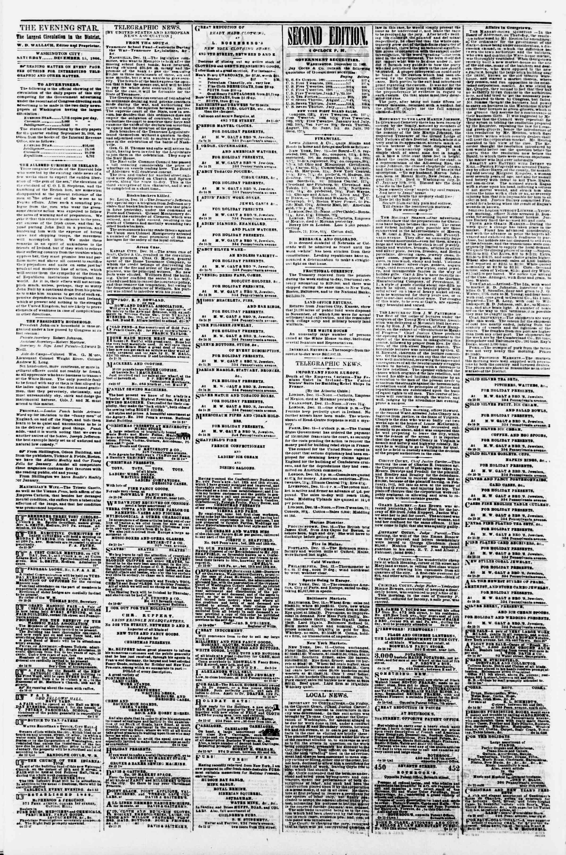Newspaper of Evening Star dated December 15, 1866 Page 2