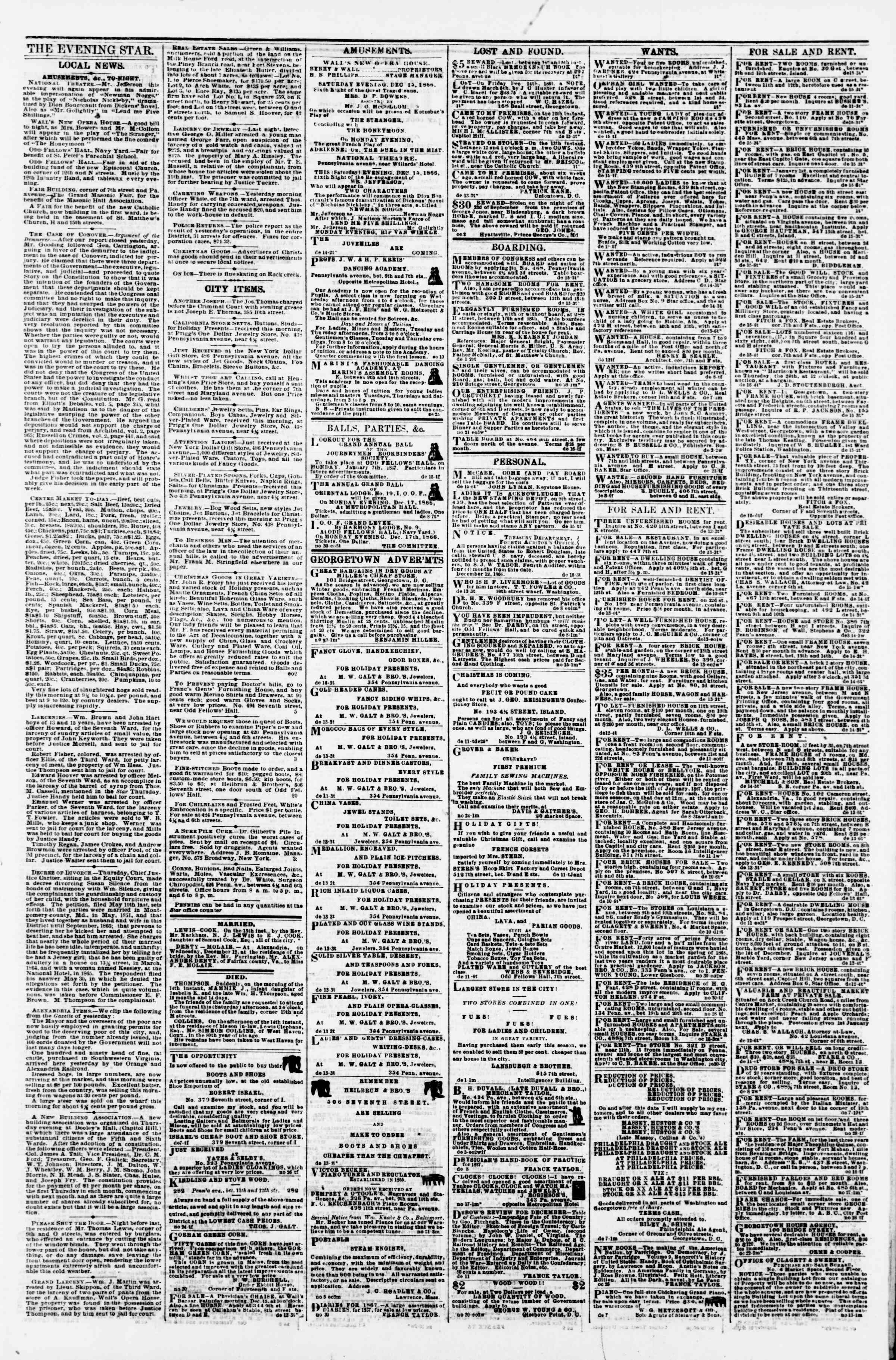 Newspaper of Evening Star dated December 15, 1866 Page 3