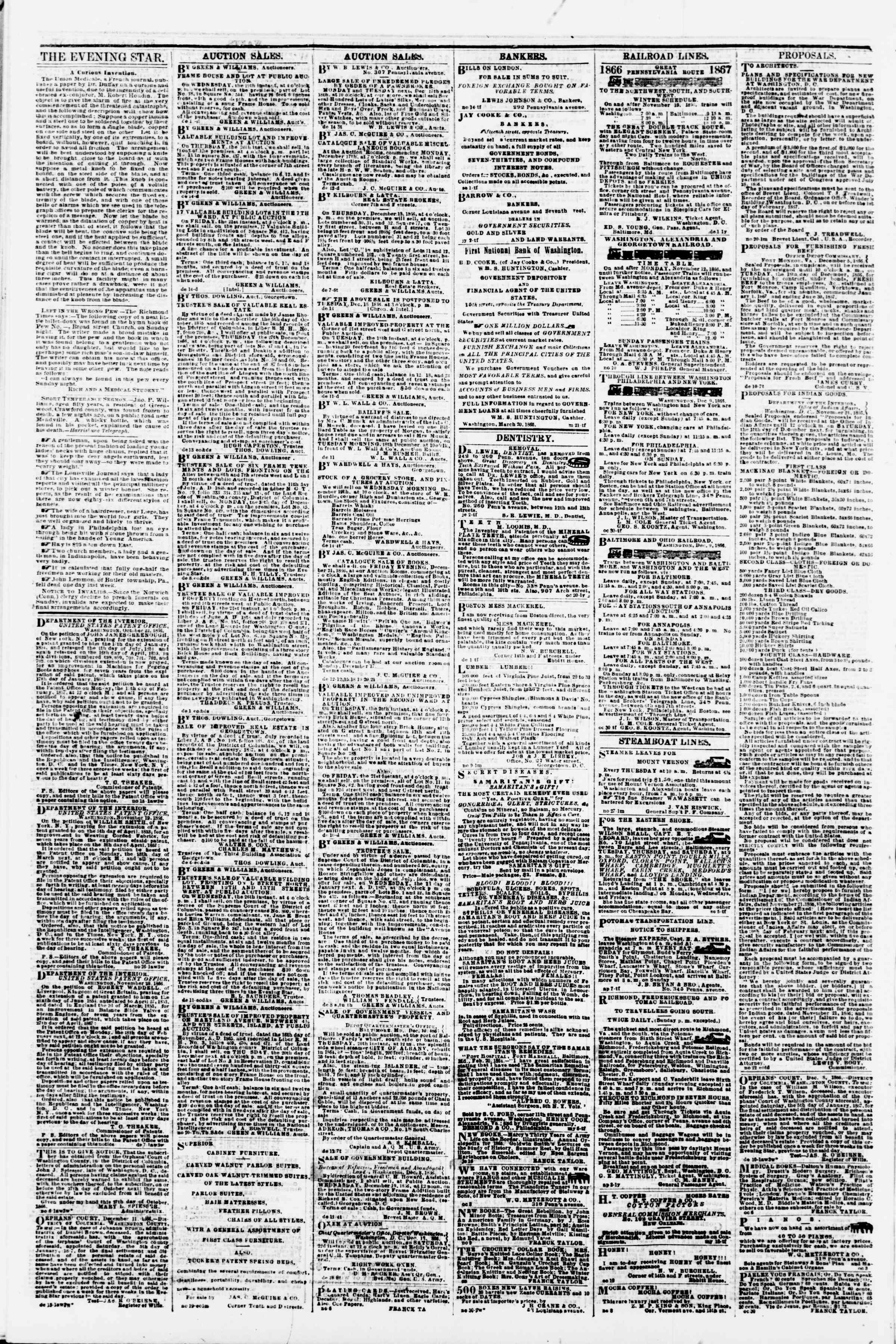 Newspaper of Evening Star dated December 15, 1866 Page 4