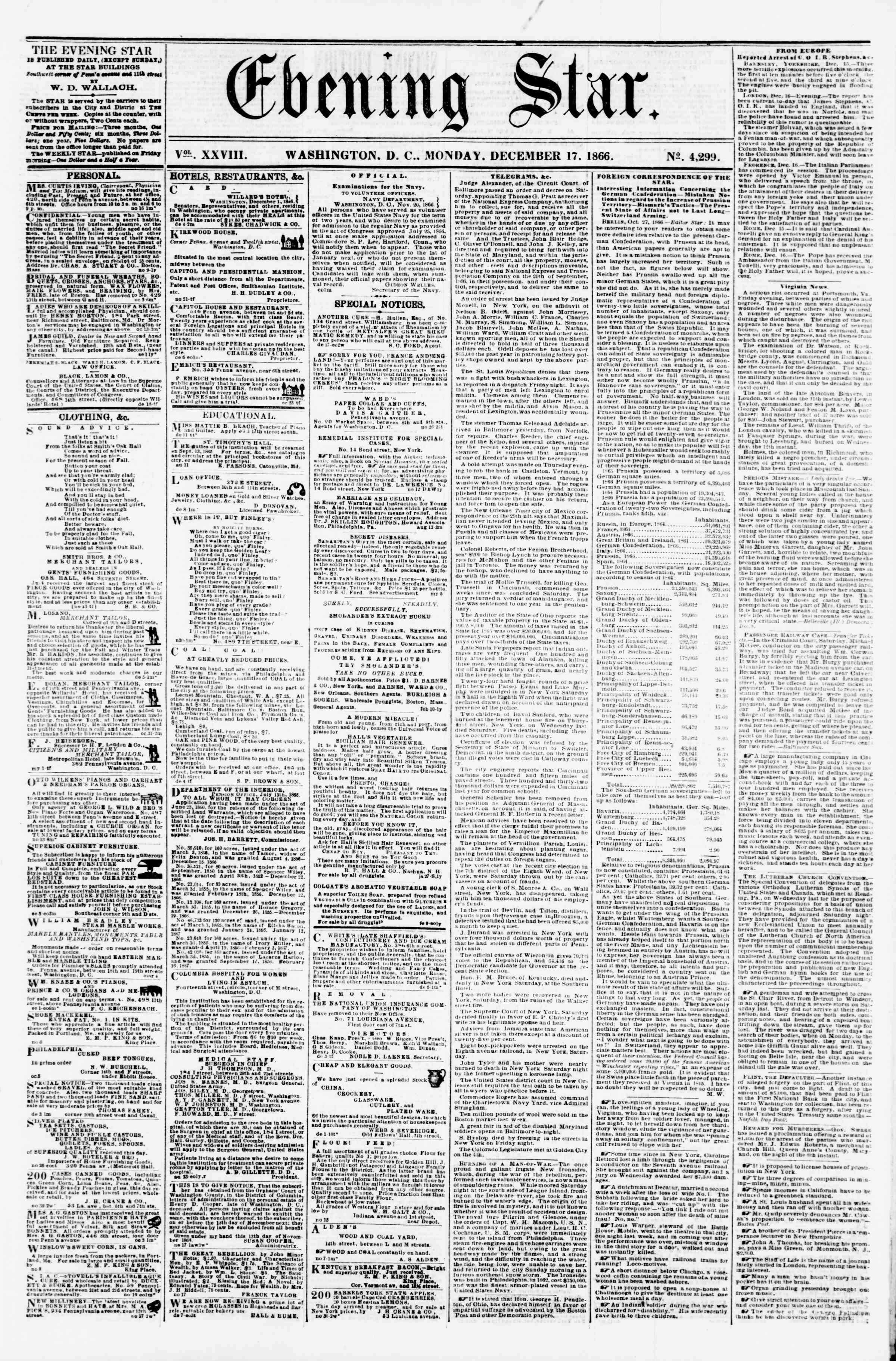 Newspaper of Evening Star dated December 17, 1866 Page 1