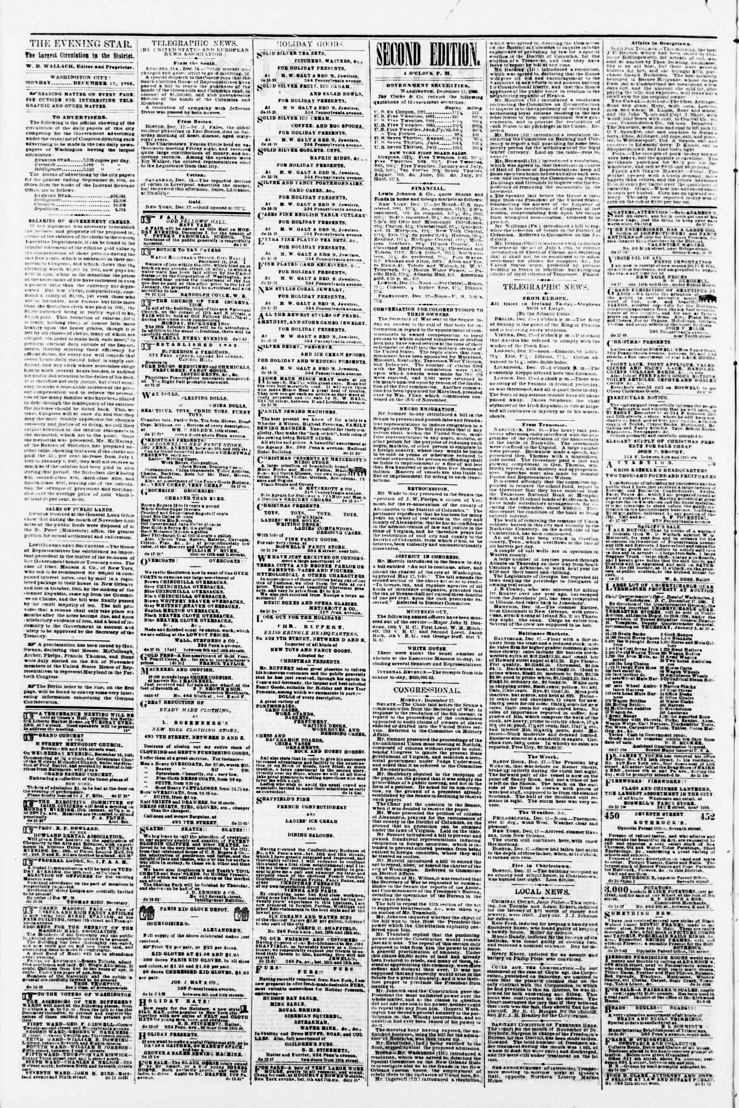 Newspaper of Evening Star dated December 17, 1866 Page 2