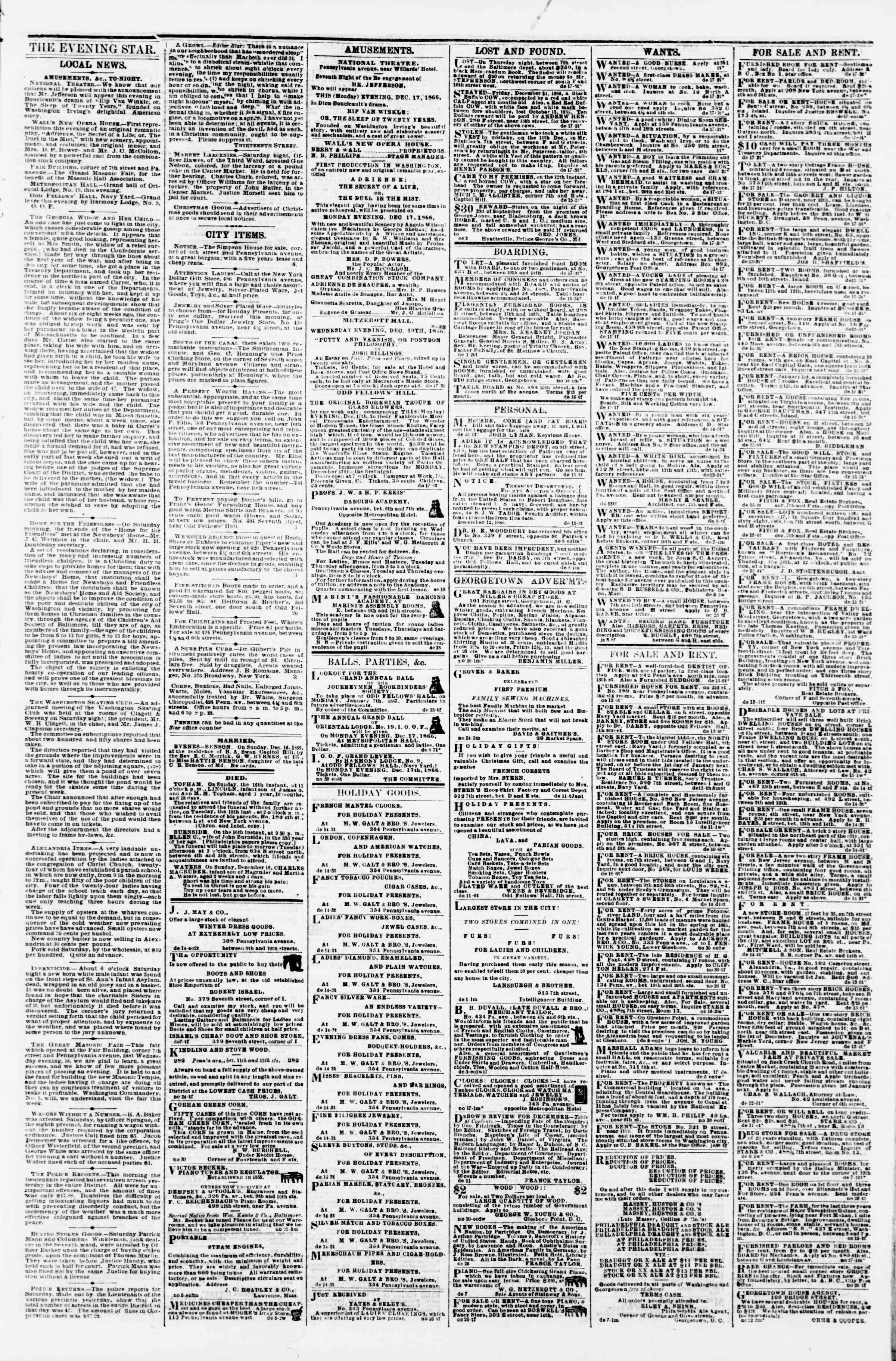 Newspaper of Evening Star dated December 17, 1866 Page 3