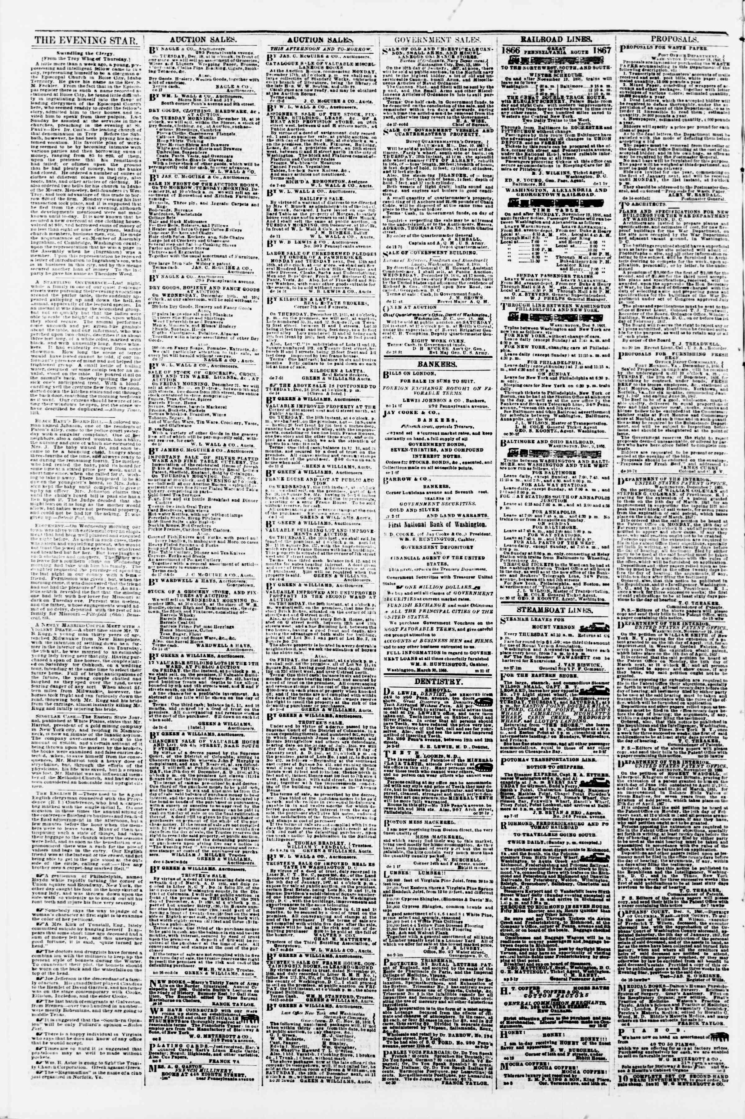 Newspaper of Evening Star dated December 17, 1866 Page 4
