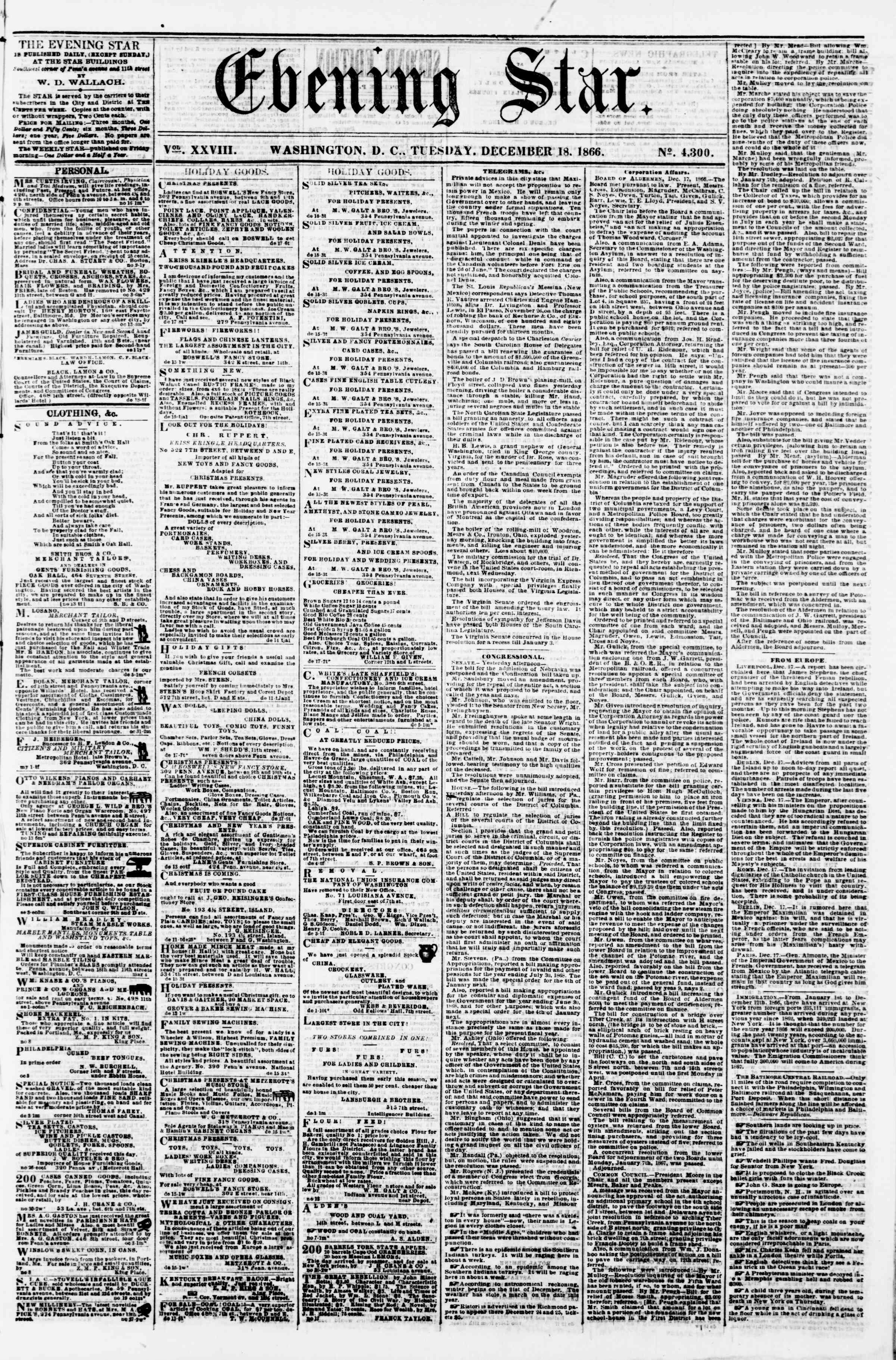 Newspaper of Evening Star dated December 18, 1866 Page 1