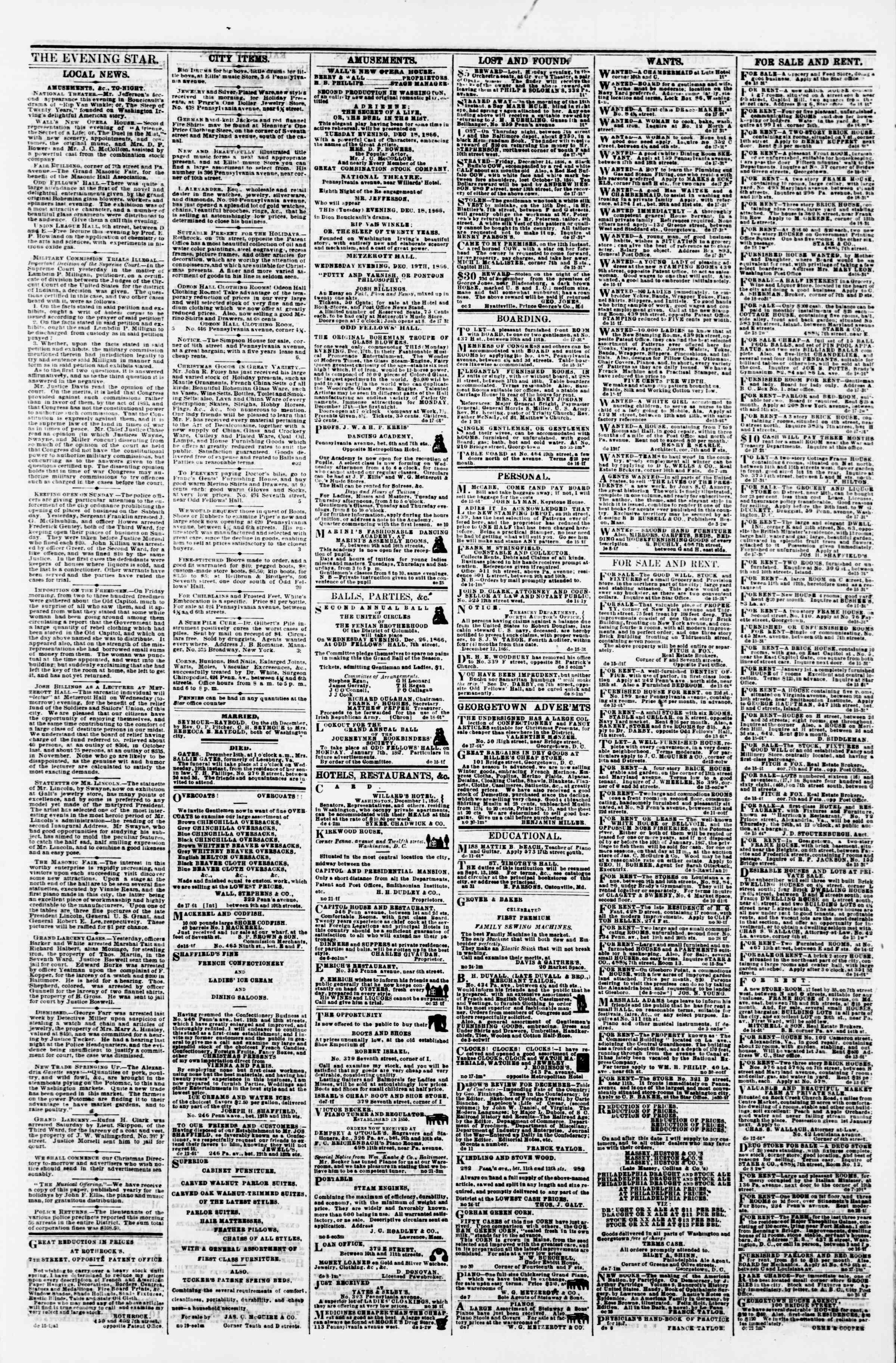 Newspaper of Evening Star dated December 18, 1866 Page 3