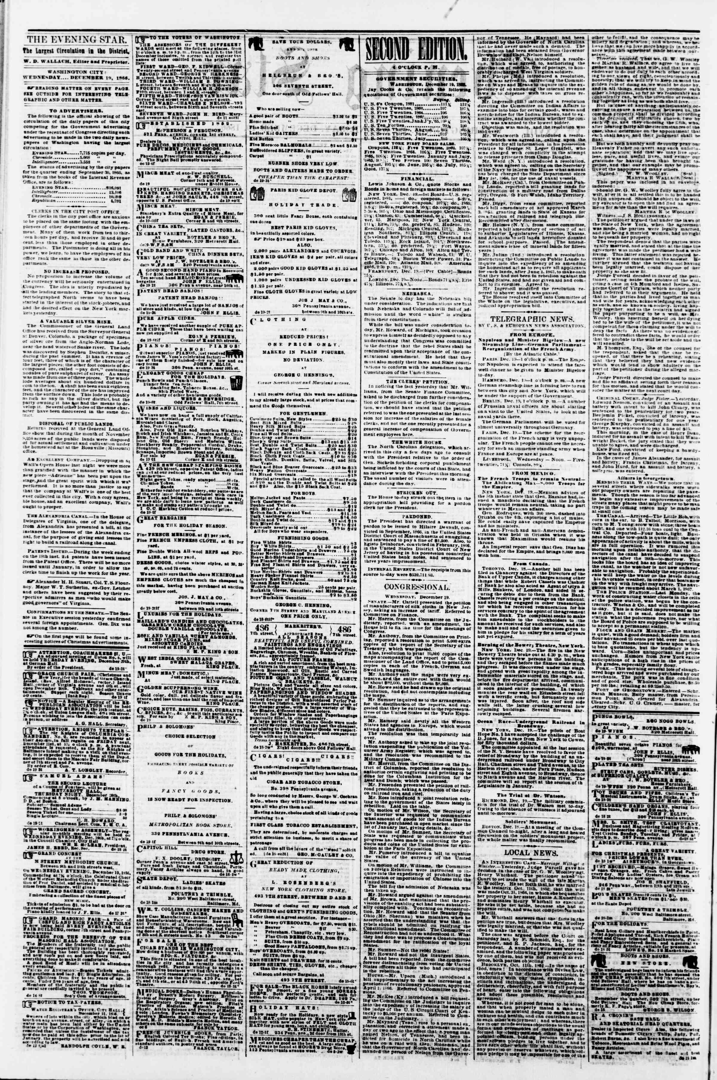 Newspaper of Evening Star dated December 19, 1866 Page 2