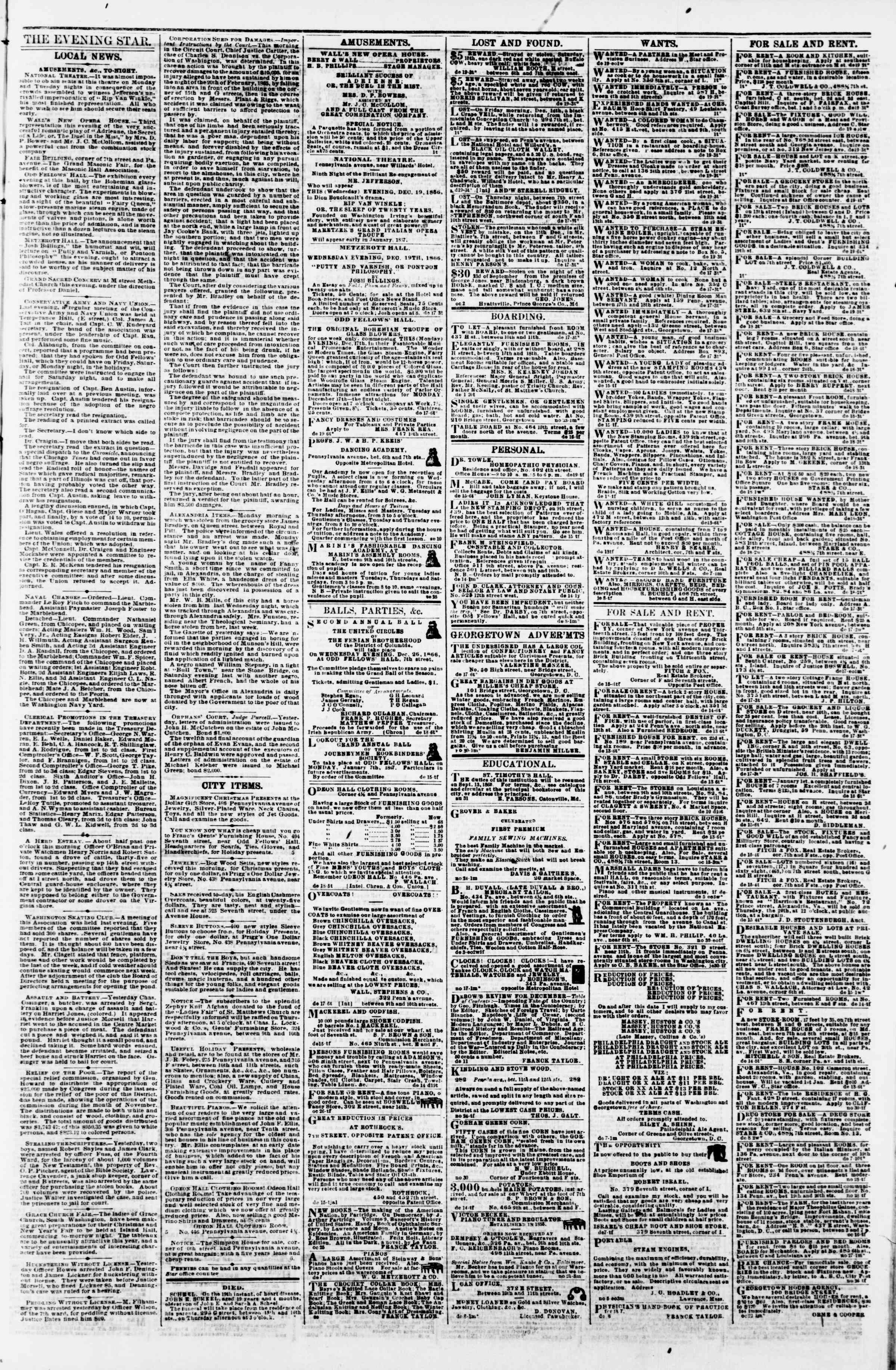 Newspaper of Evening Star dated December 19, 1866 Page 3
