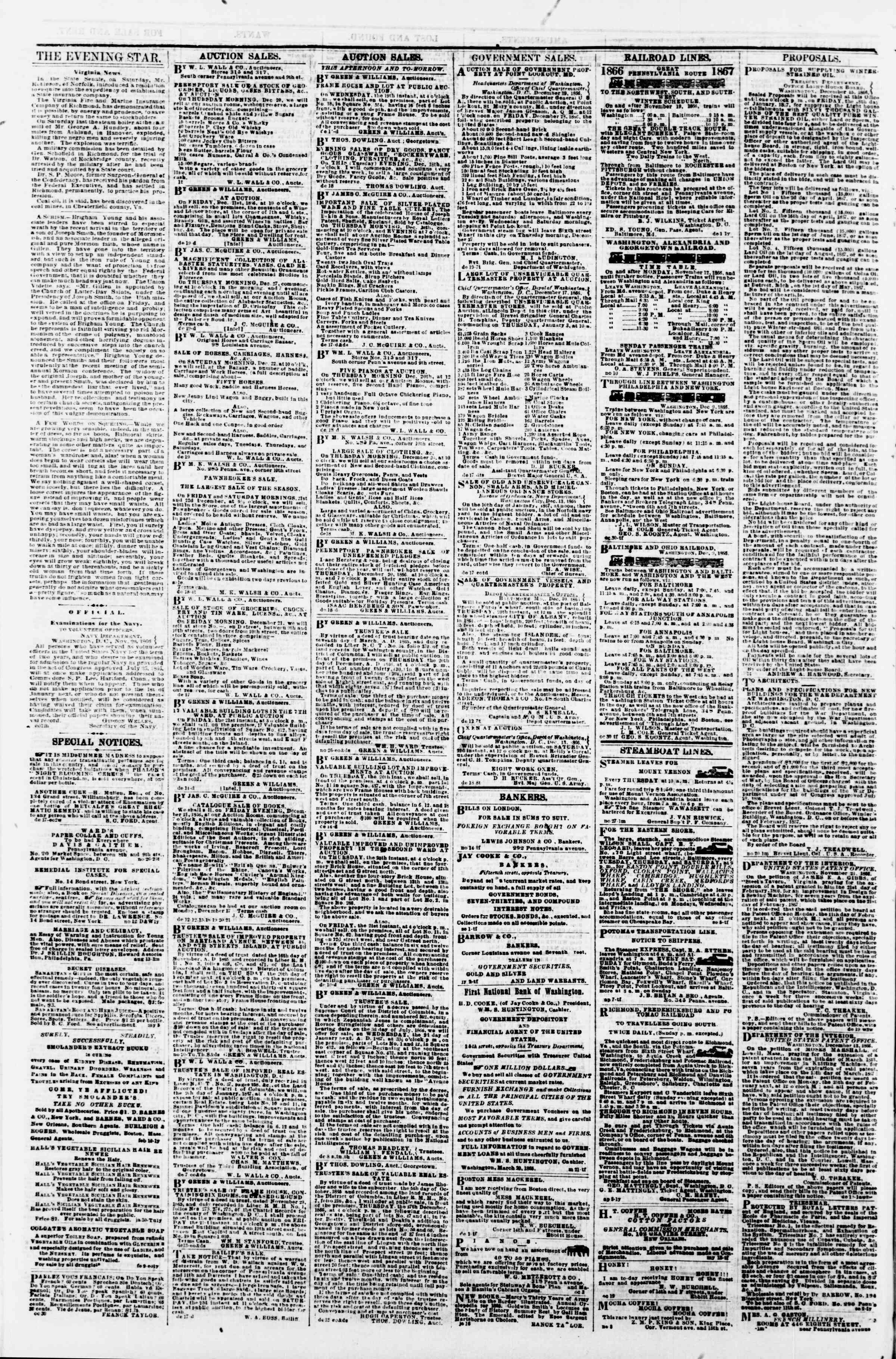 Newspaper of Evening Star dated December 19, 1866 Page 4