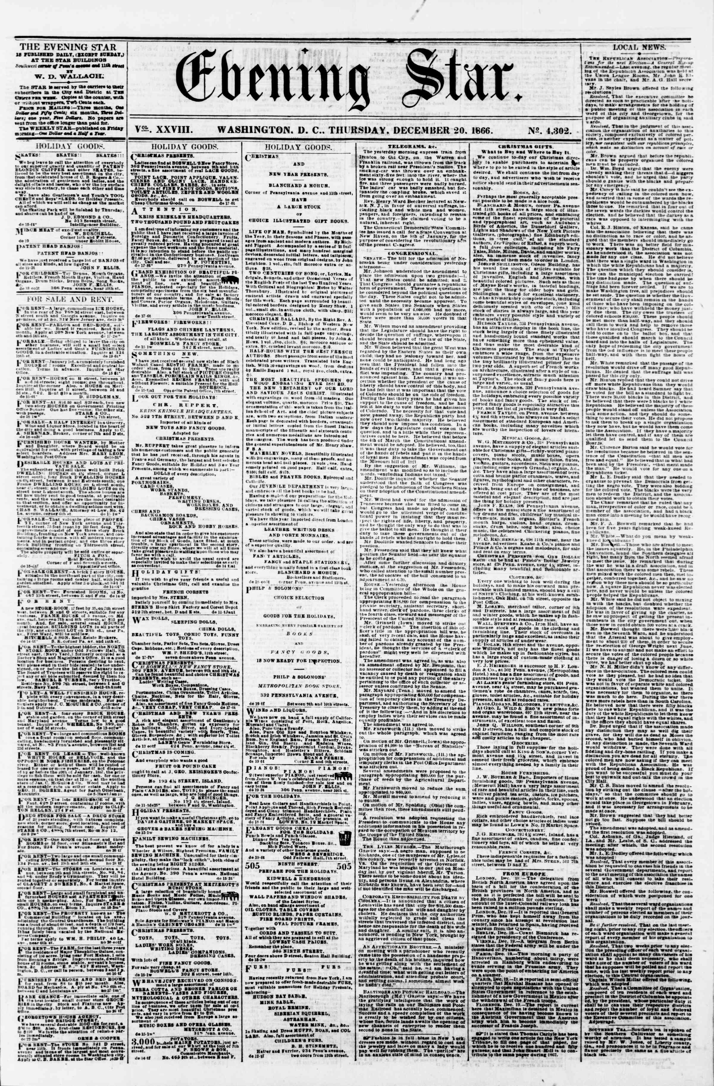 Newspaper of Evening Star dated December 20, 1866 Page 1