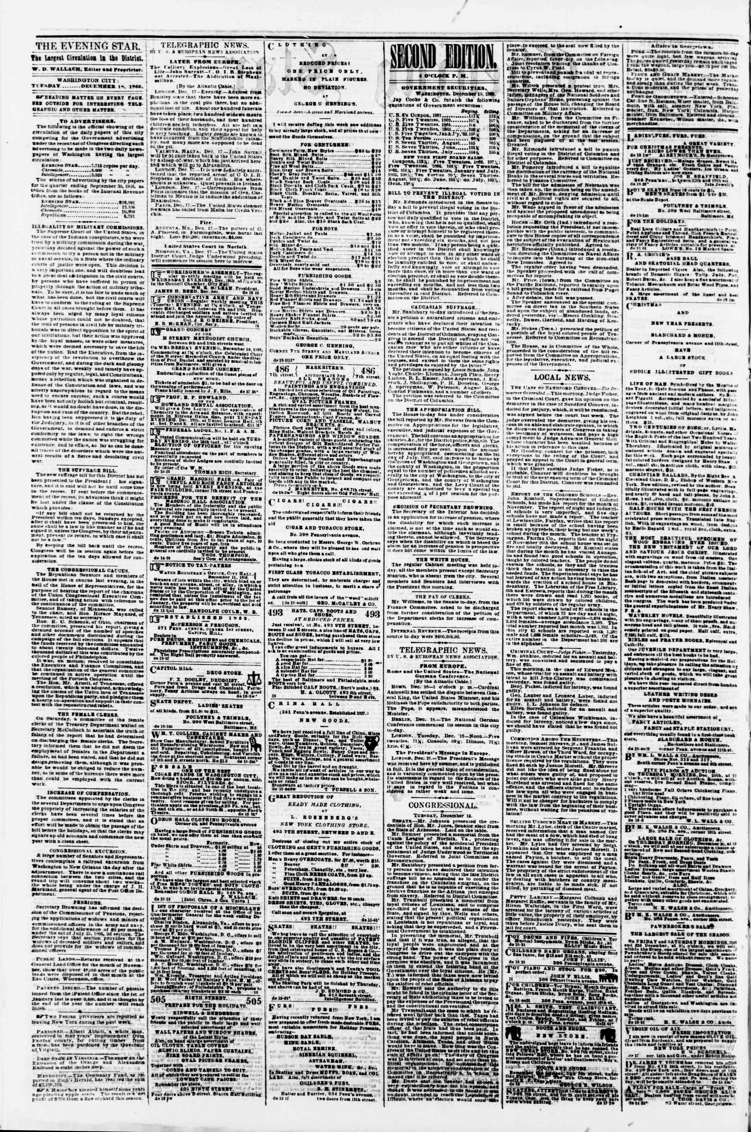 Newspaper of Evening Star dated December 20, 1866 Page 2
