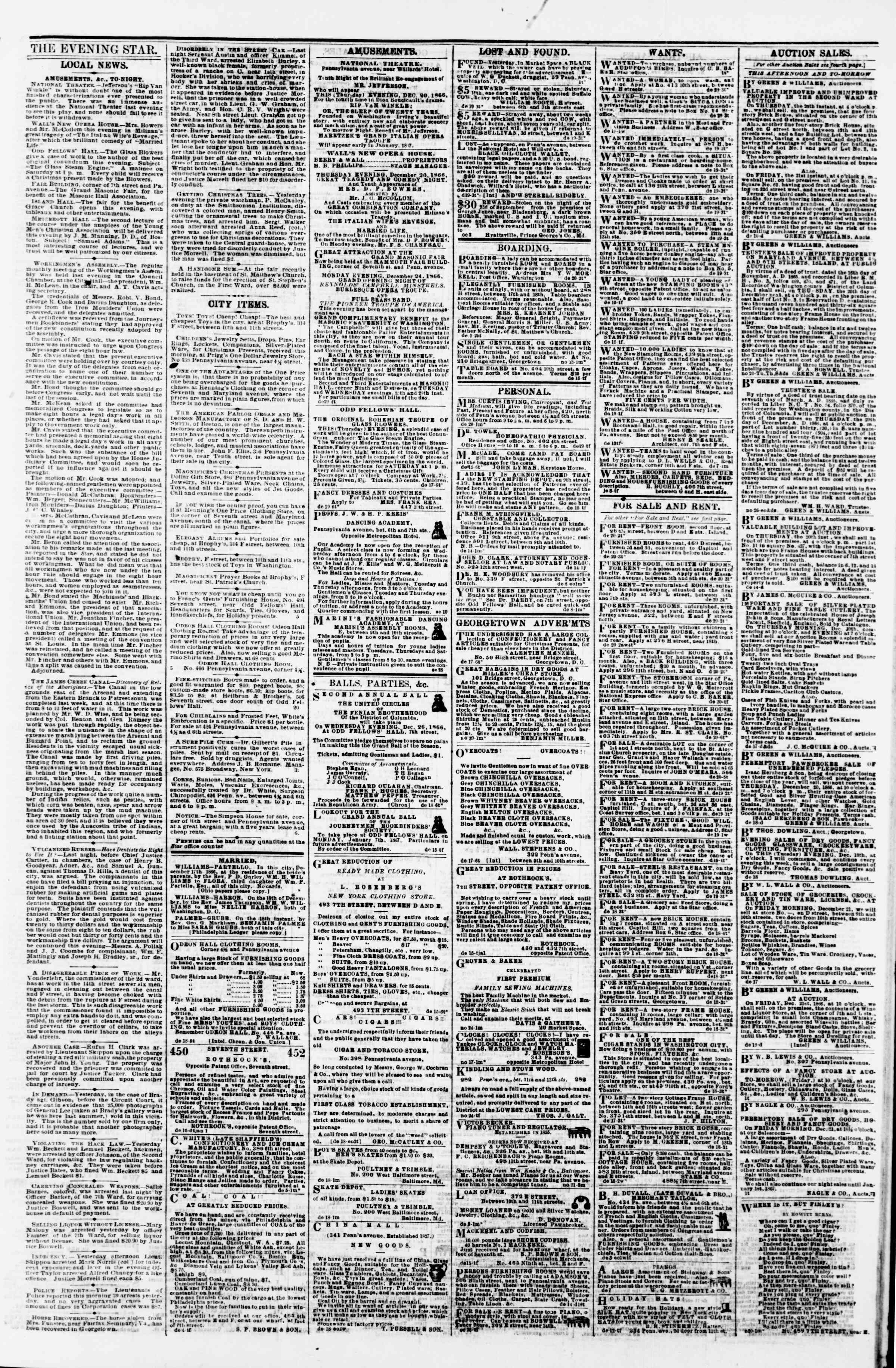 Newspaper of Evening Star dated December 20, 1866 Page 3