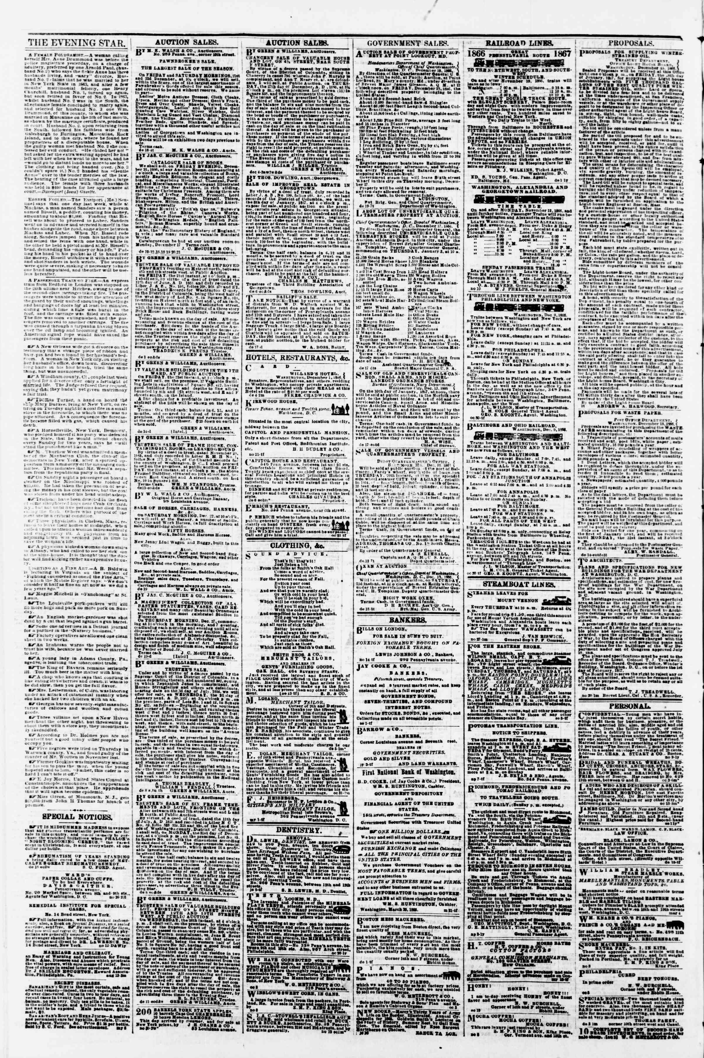Newspaper of Evening Star dated December 20, 1866 Page 4
