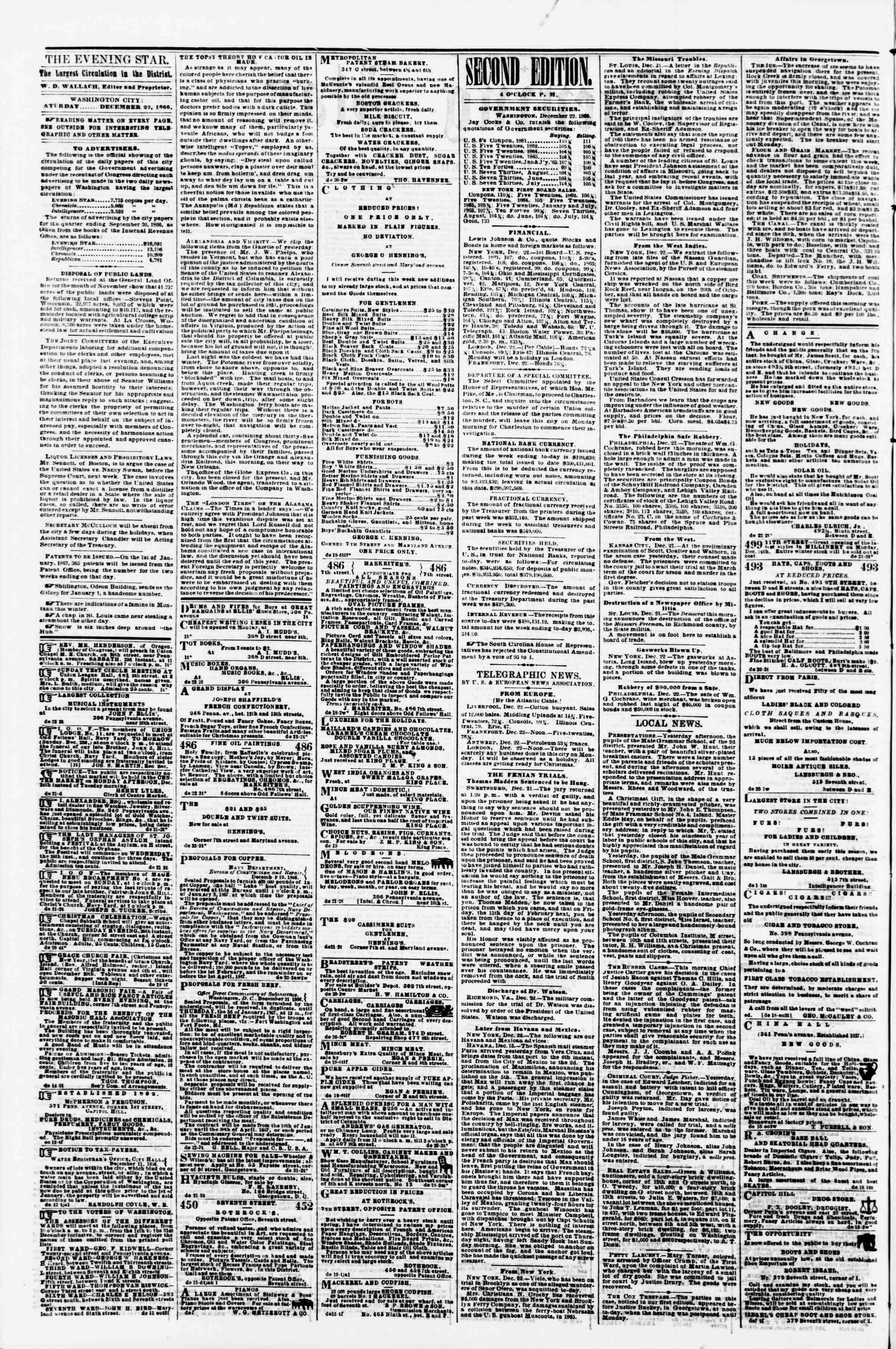 Newspaper of Evening Star dated December 22, 1866 Page 2