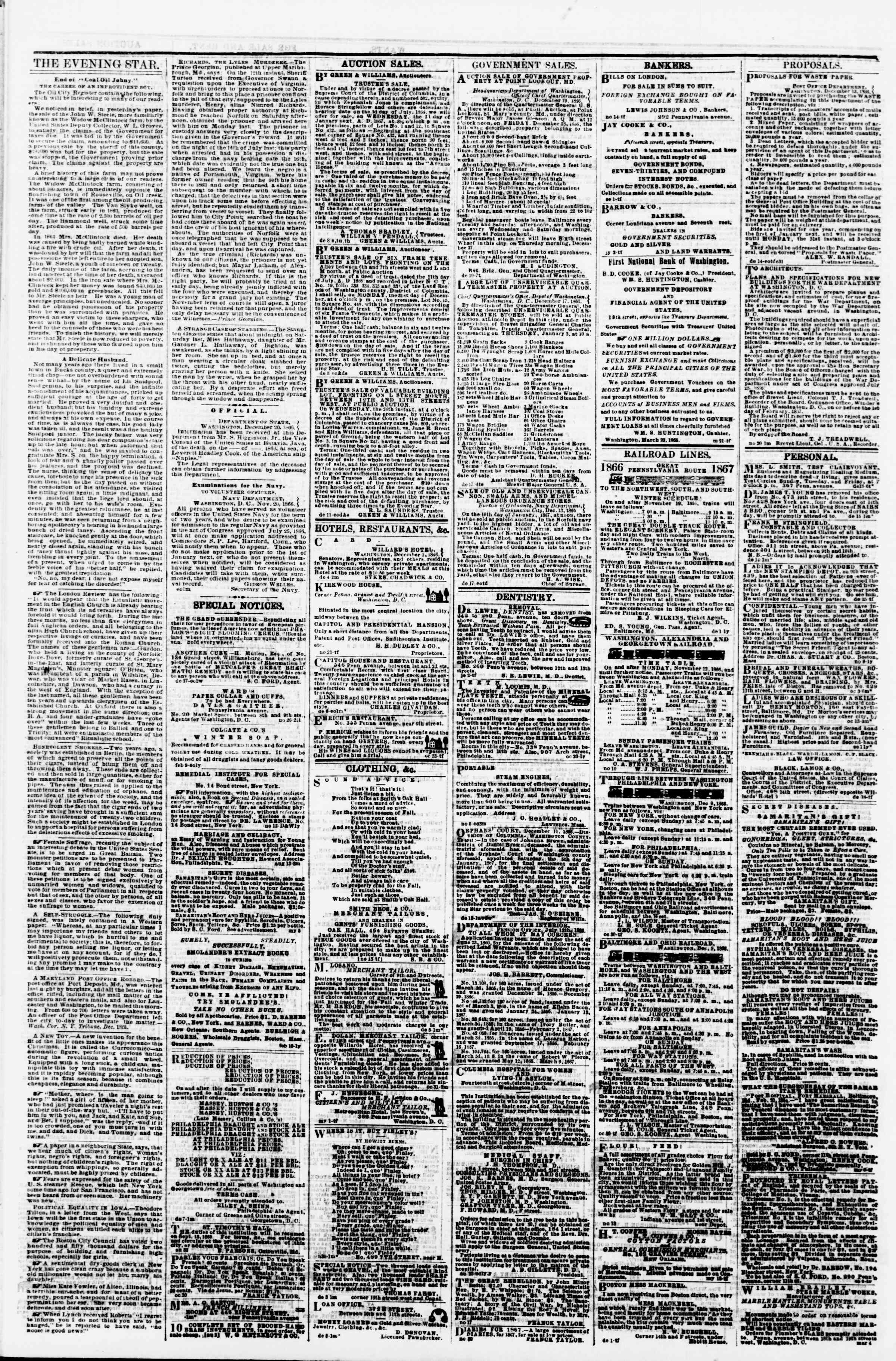Newspaper of Evening Star dated December 22, 1866 Page 4