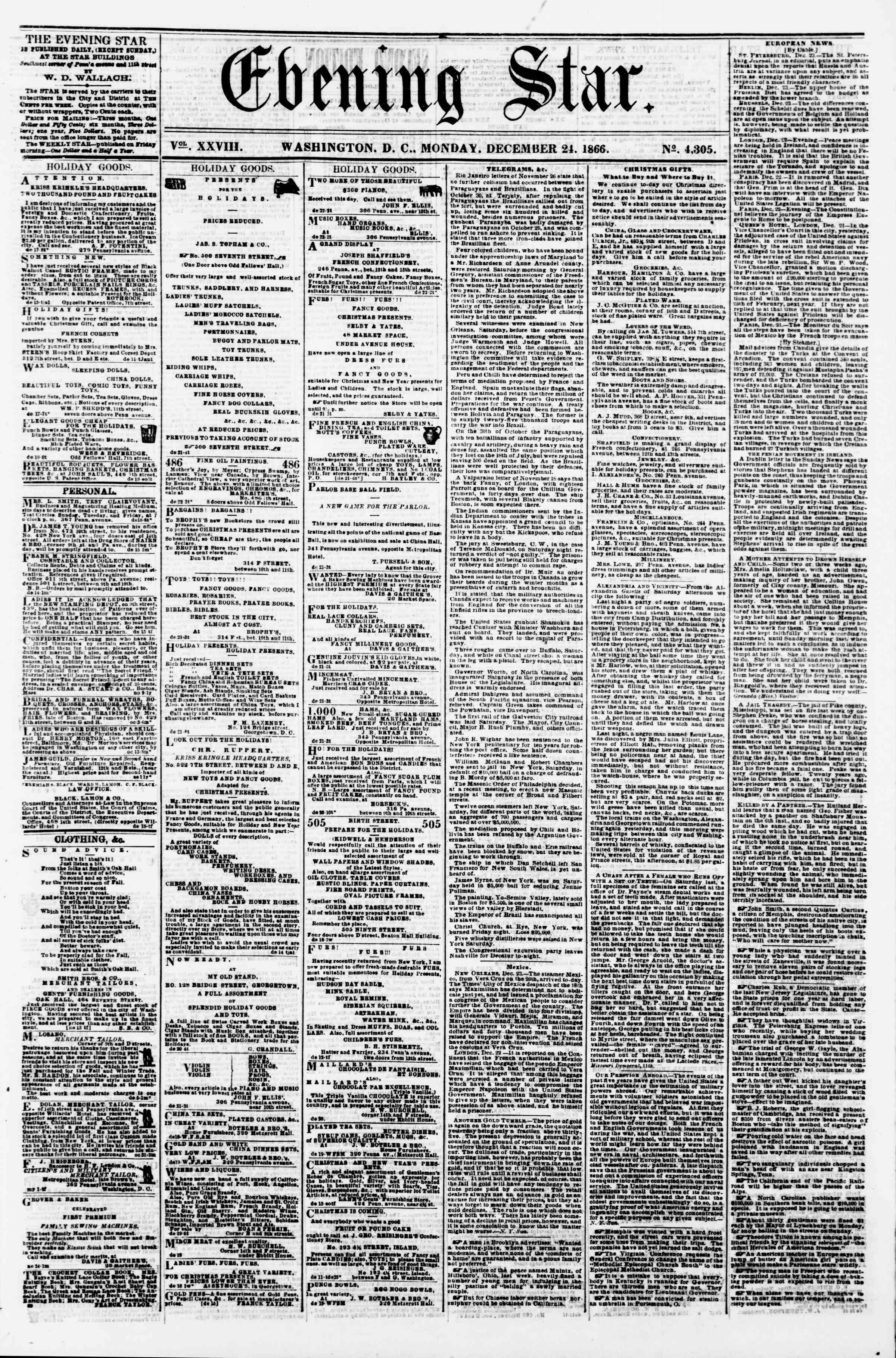 Newspaper of Evening Star dated December 24, 1866 Page 1