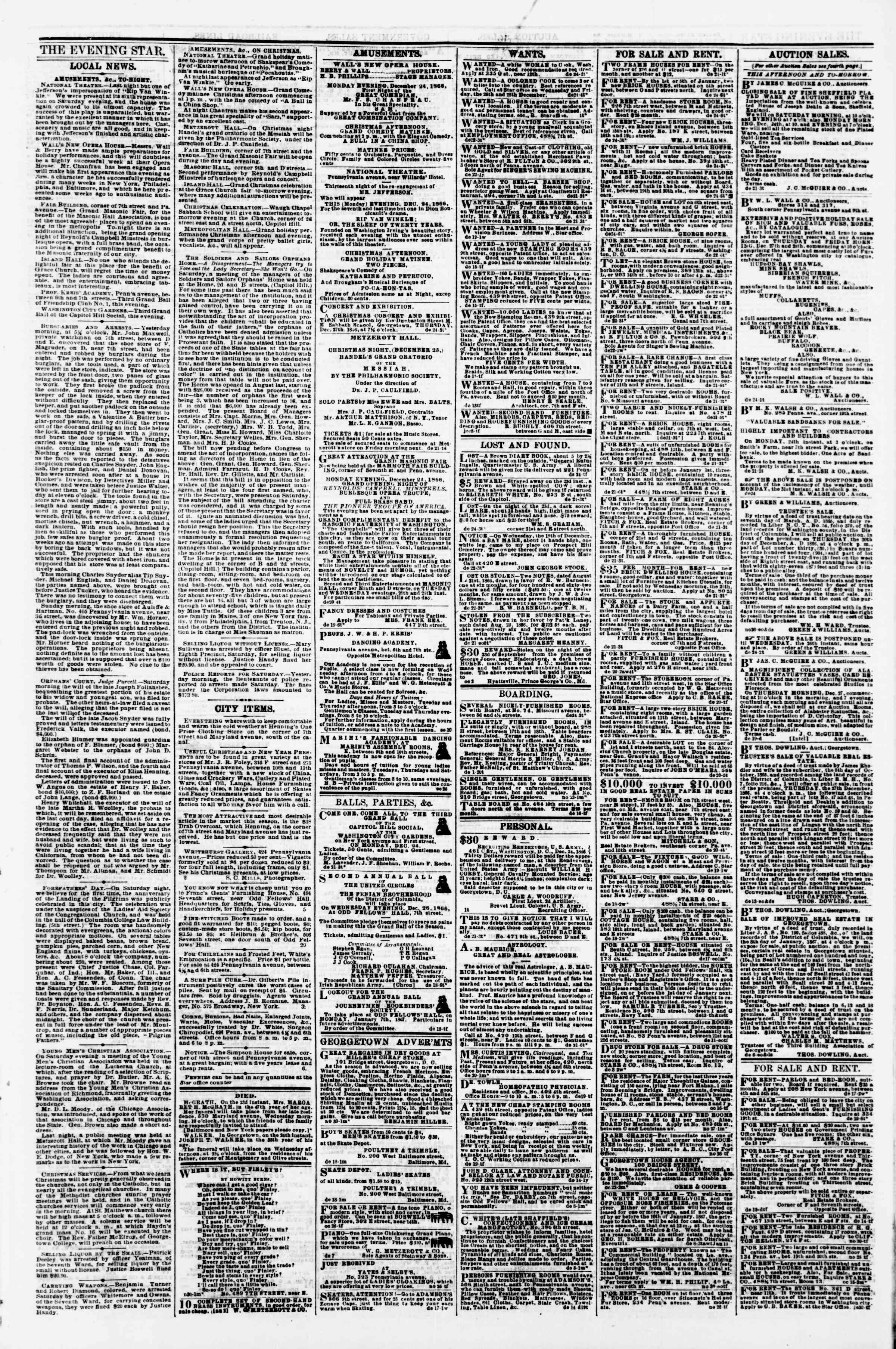 Newspaper of Evening Star dated December 24, 1866 Page 3