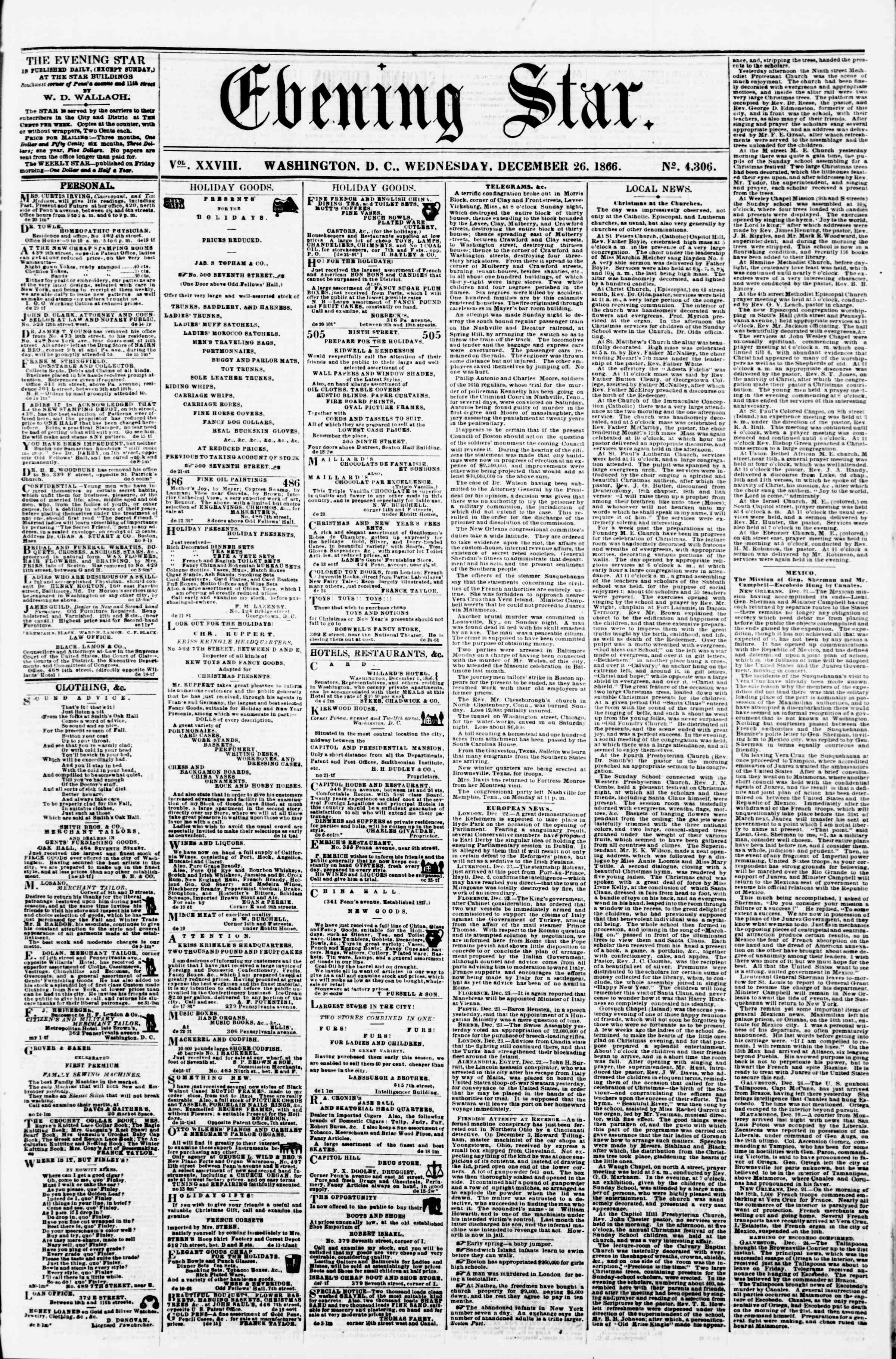 Newspaper of Evening Star dated December 26, 1866 Page 1
