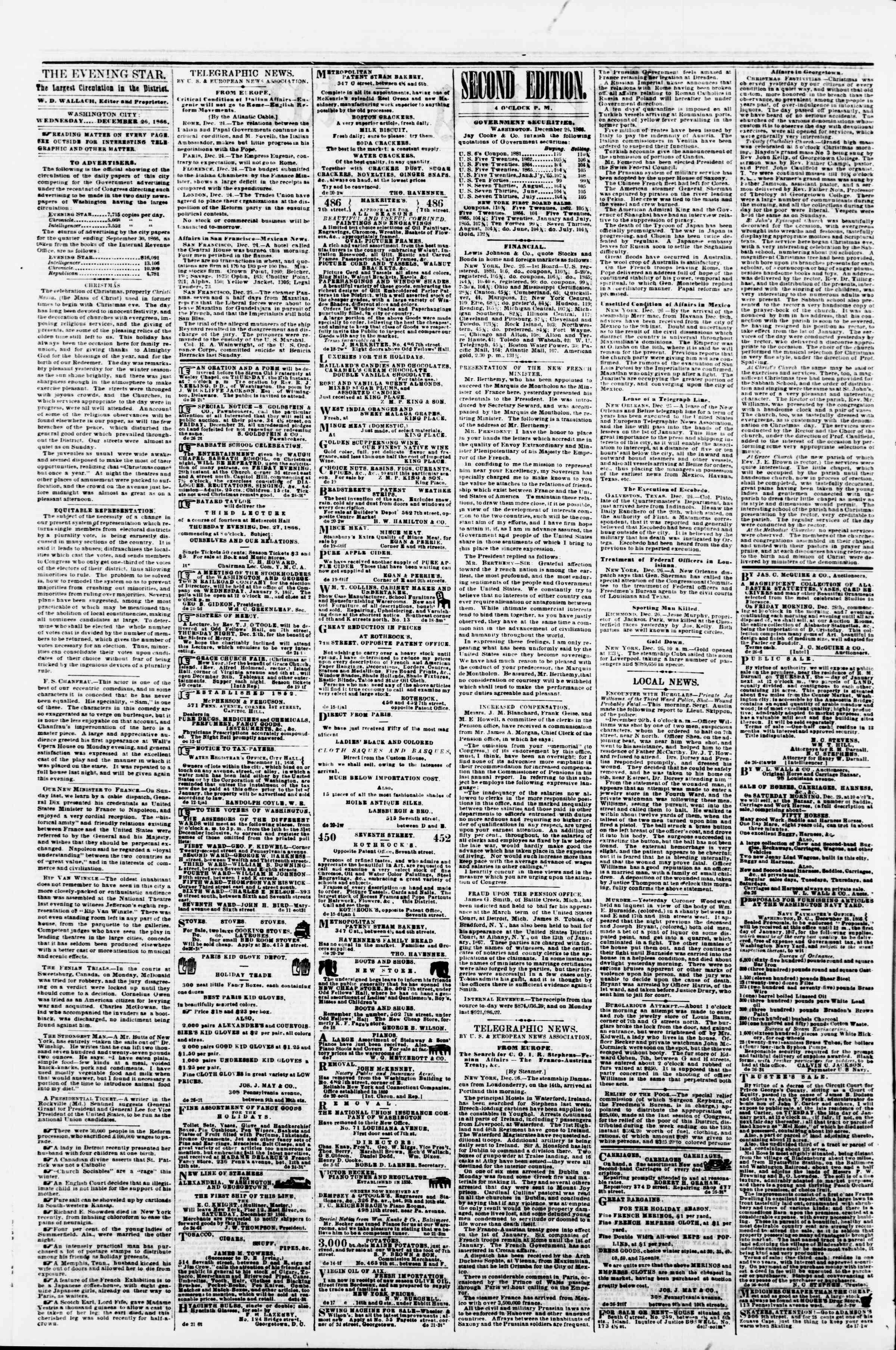 Newspaper of Evening Star dated December 26, 1866 Page 2