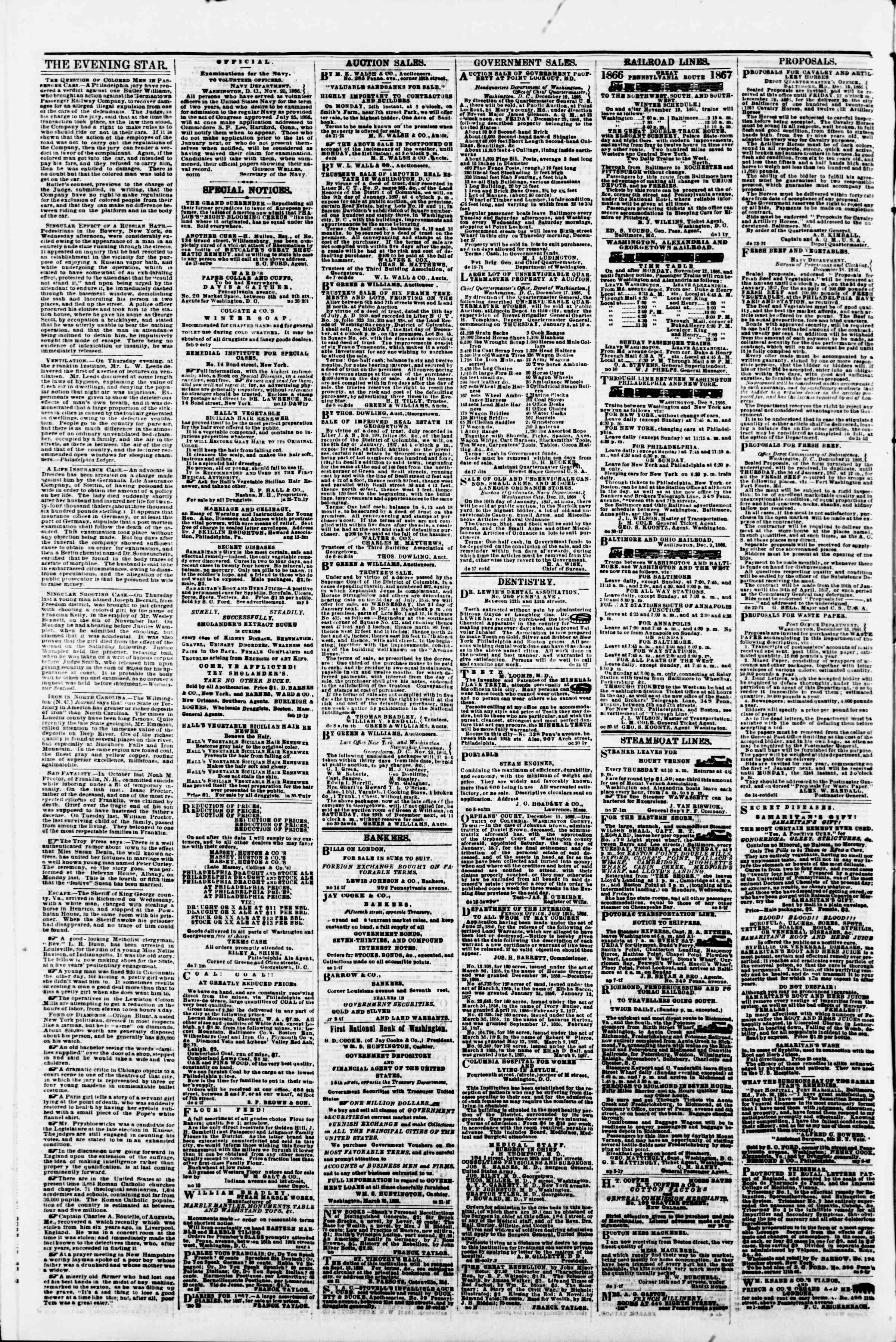 Newspaper of Evening Star dated December 26, 1866 Page 4
