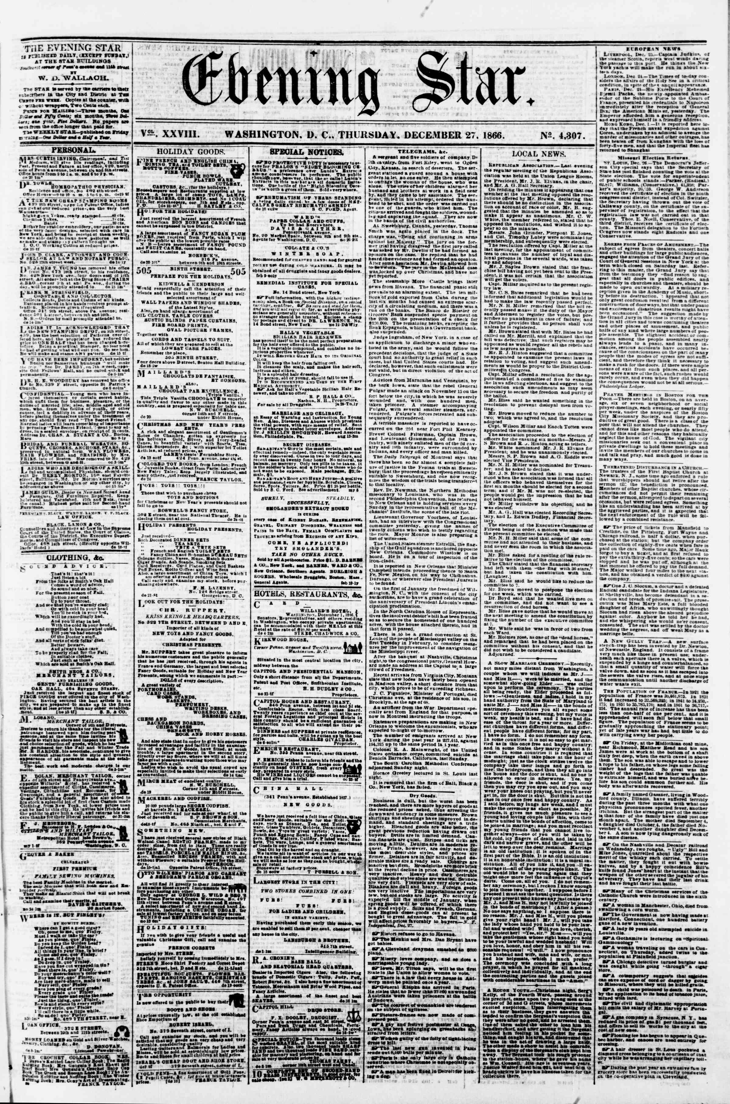 Newspaper of Evening Star dated December 27, 1866 Page 1