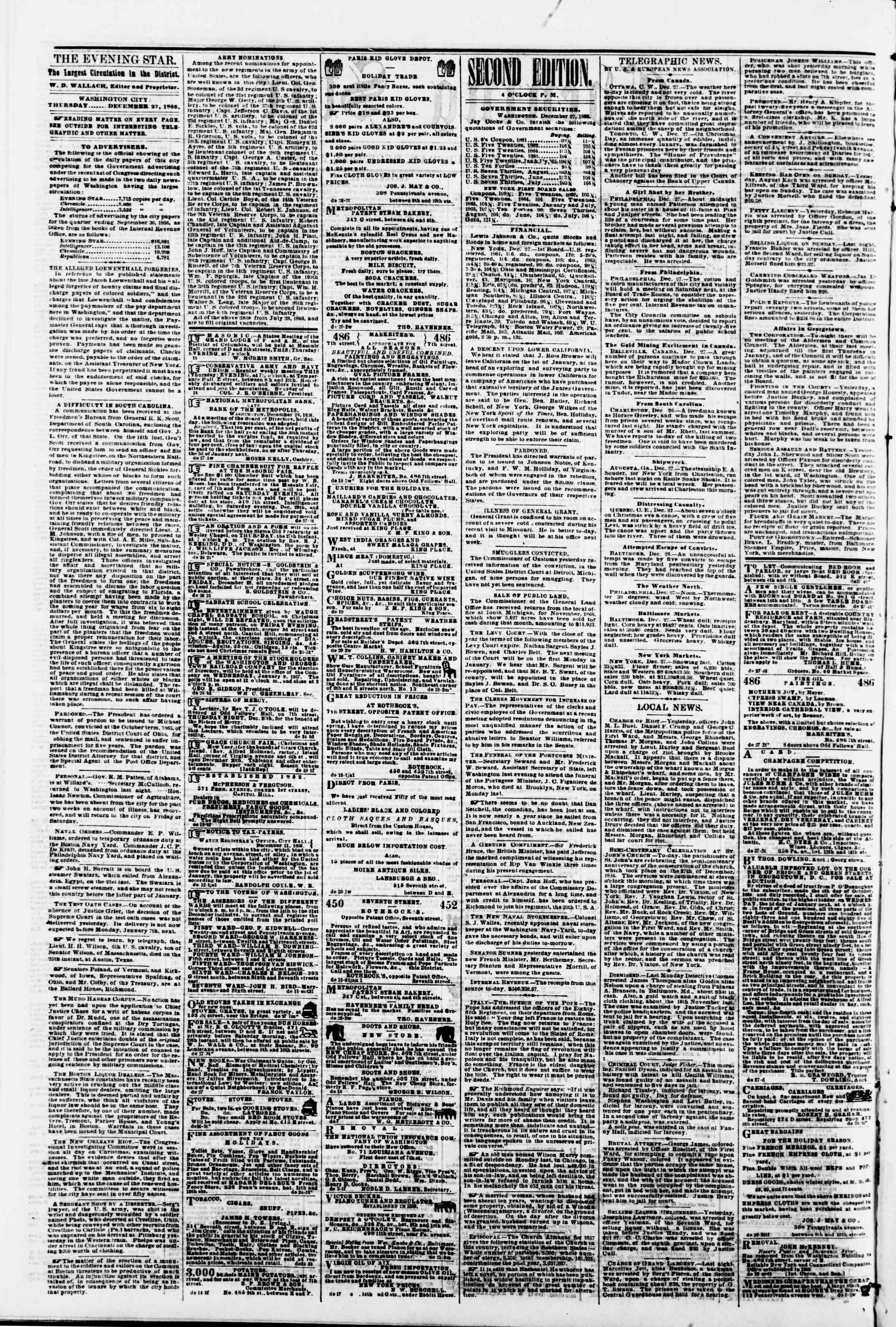 Newspaper of Evening Star dated December 27, 1866 Page 2