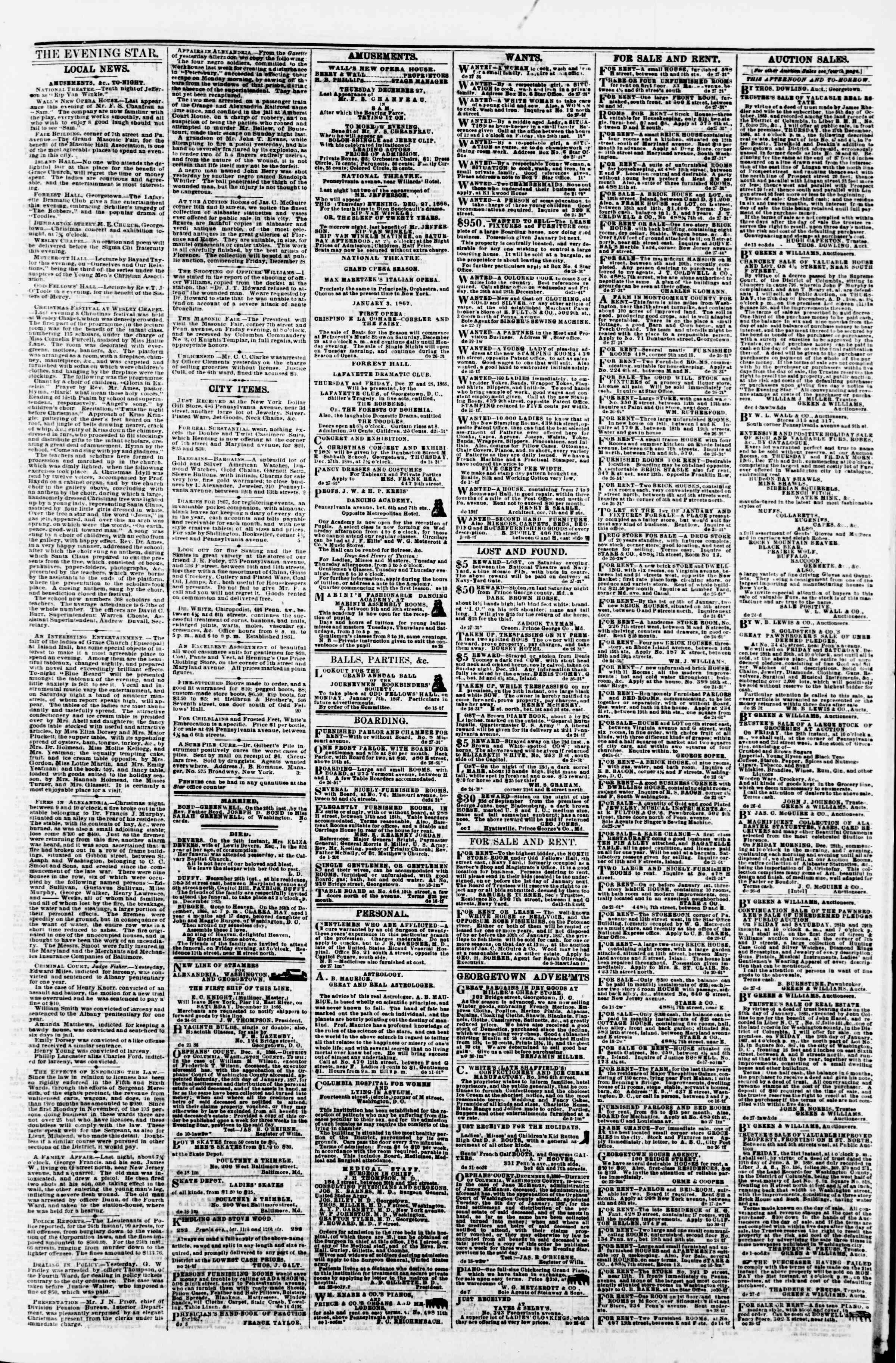 Newspaper of Evening Star dated December 27, 1866 Page 3
