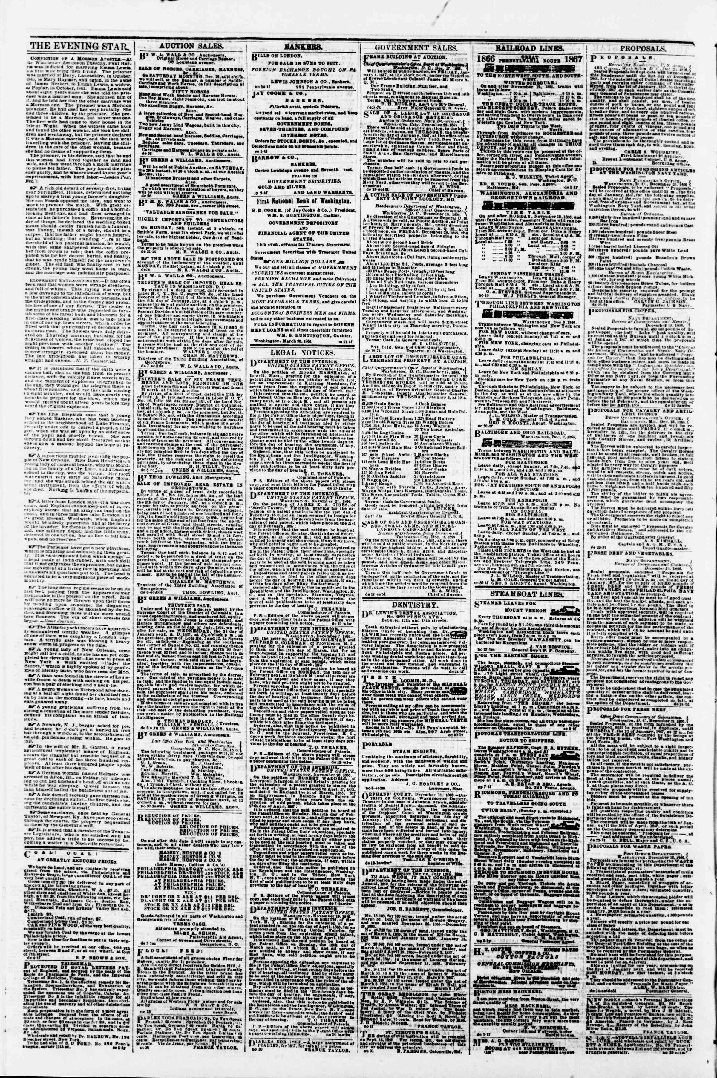 Newspaper of Evening Star dated December 27, 1866 Page 4