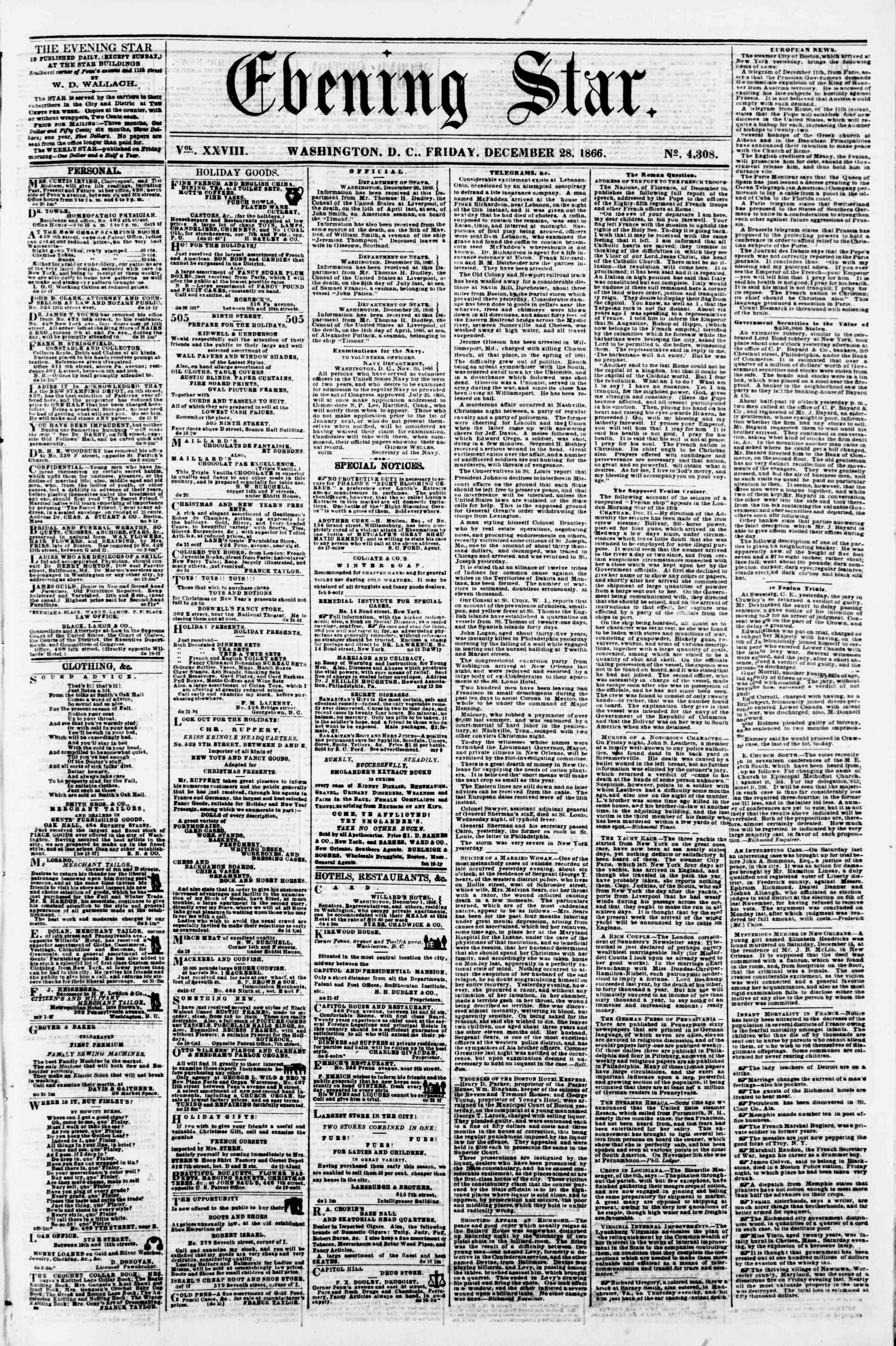 Newspaper of Evening Star dated December 28, 1866 Page 1