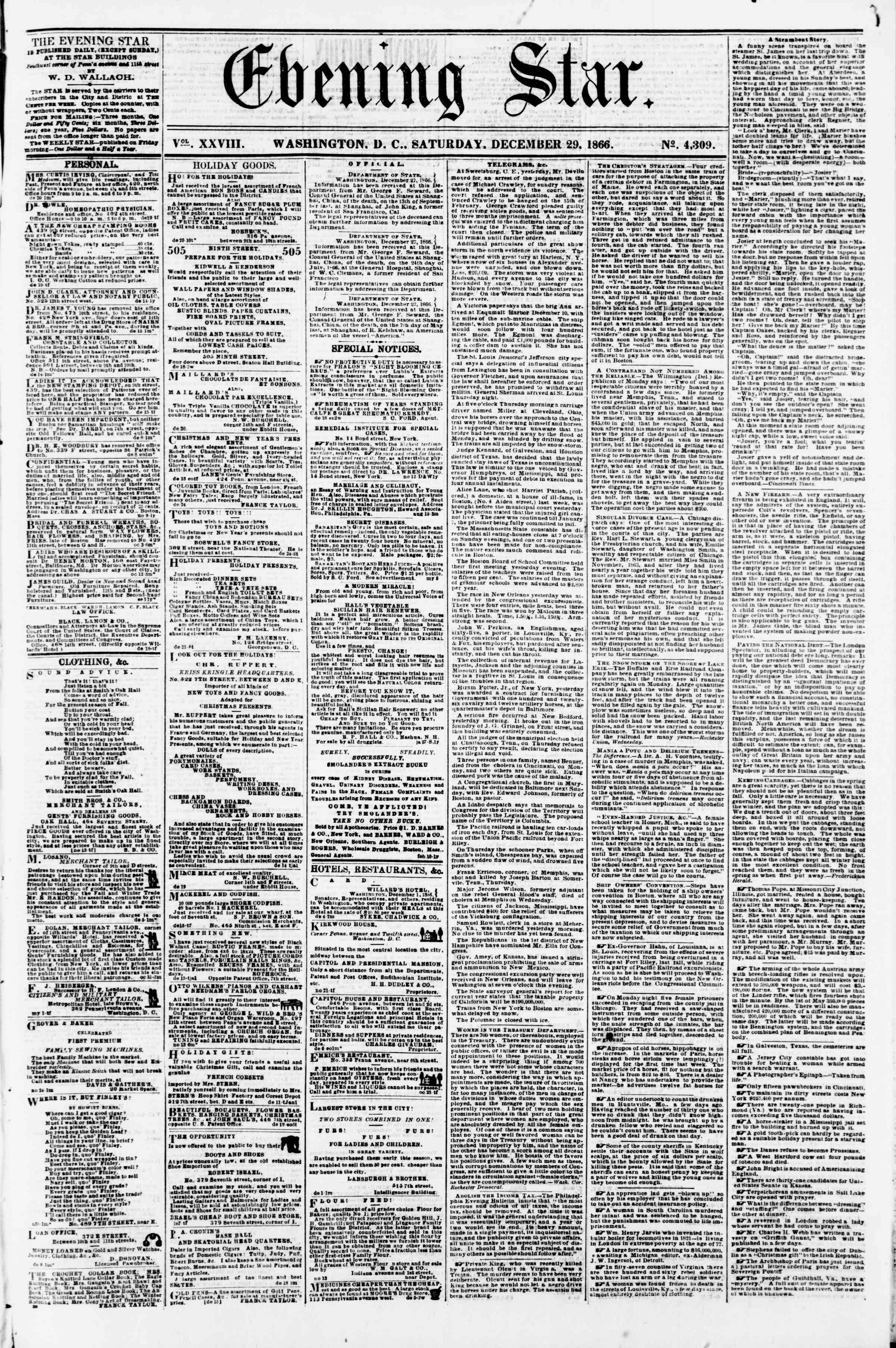 Newspaper of Evening Star dated December 29, 1866 Page 1