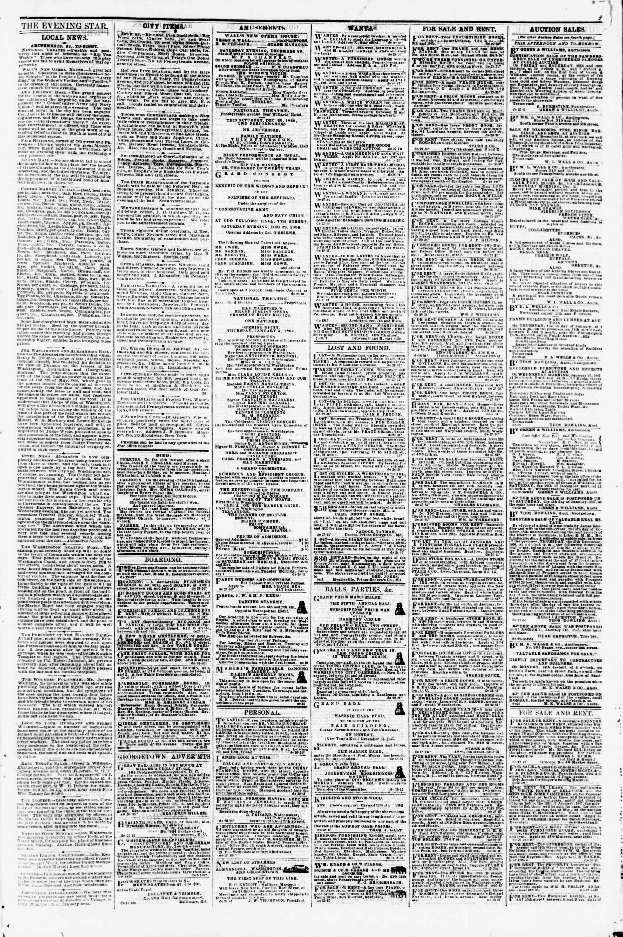 Newspaper of Evening Star dated December 29, 1866 Page 3