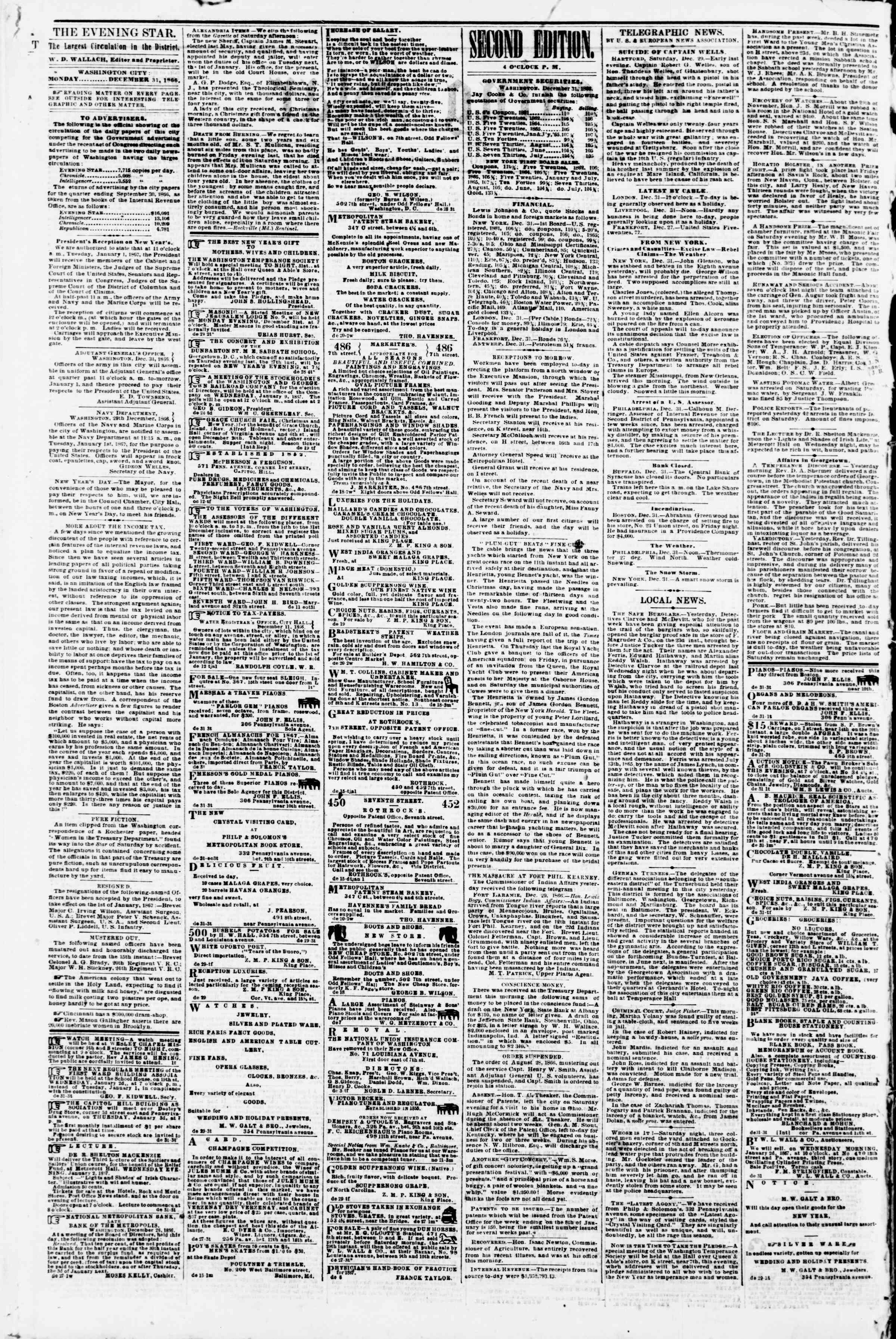 Newspaper of Evening Star dated December 31, 1866 Page 2