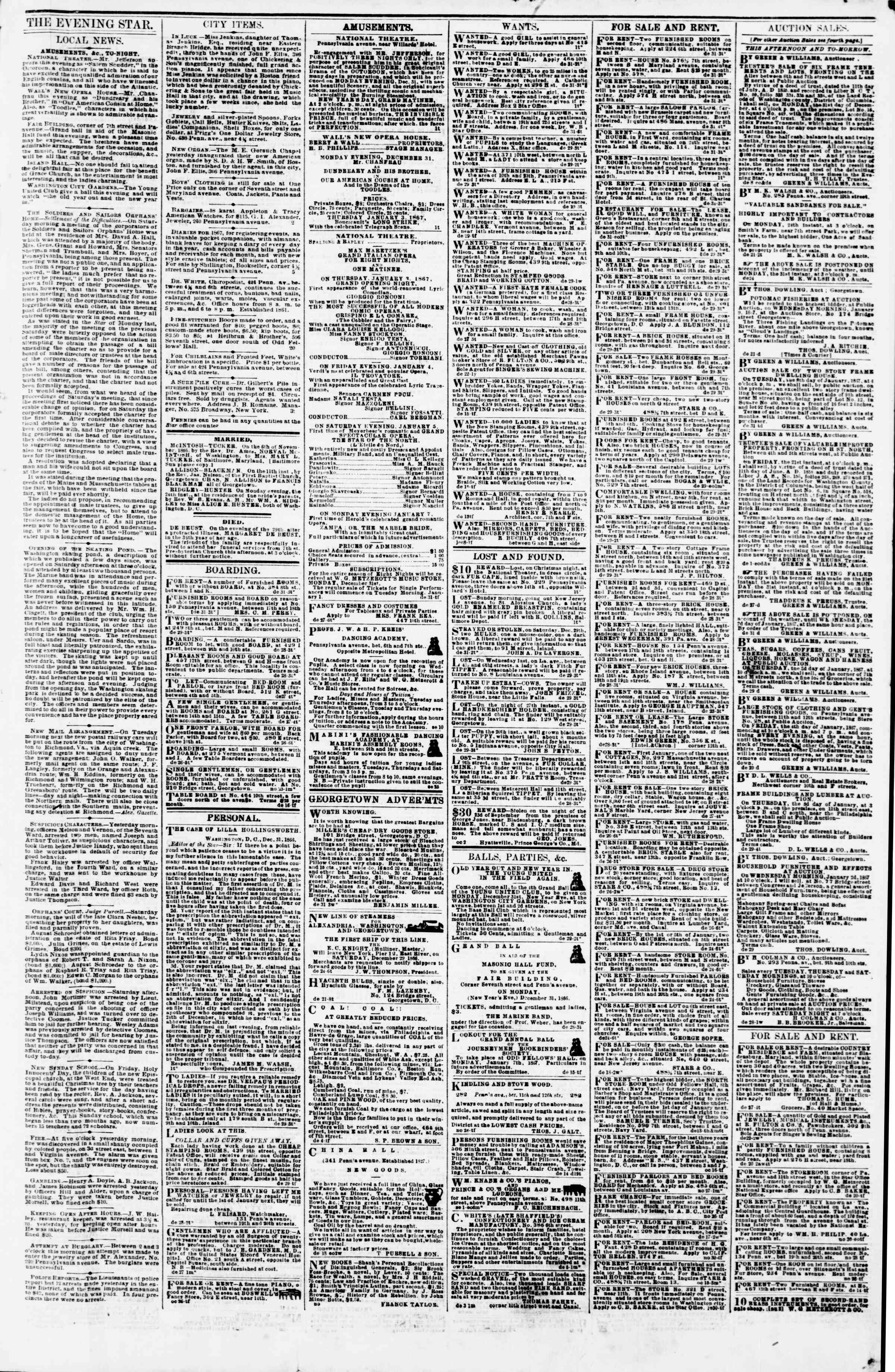 Newspaper of Evening Star dated December 31, 1866 Page 3