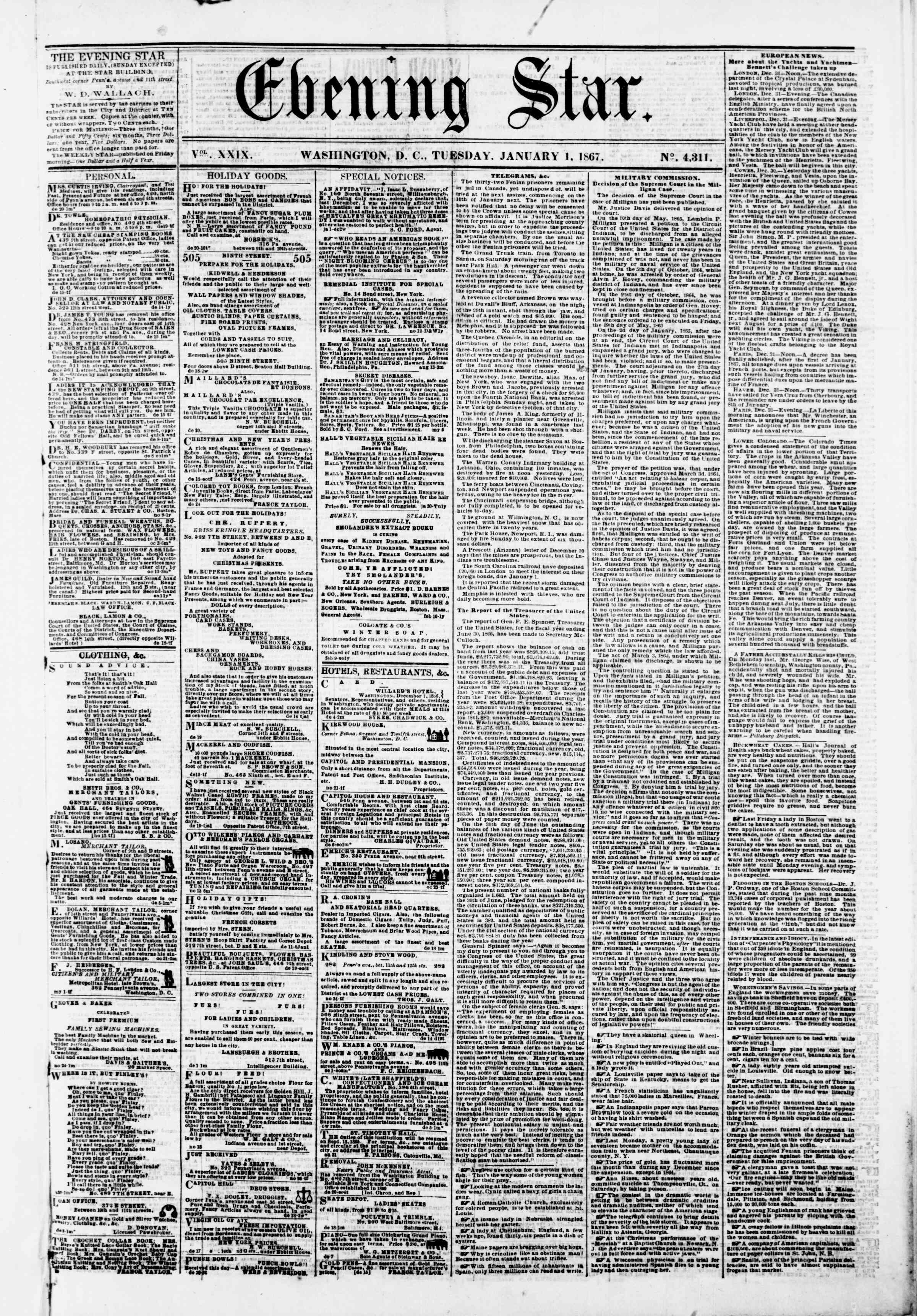 Newspaper of Evening Star dated January 1, 1867 Page 1