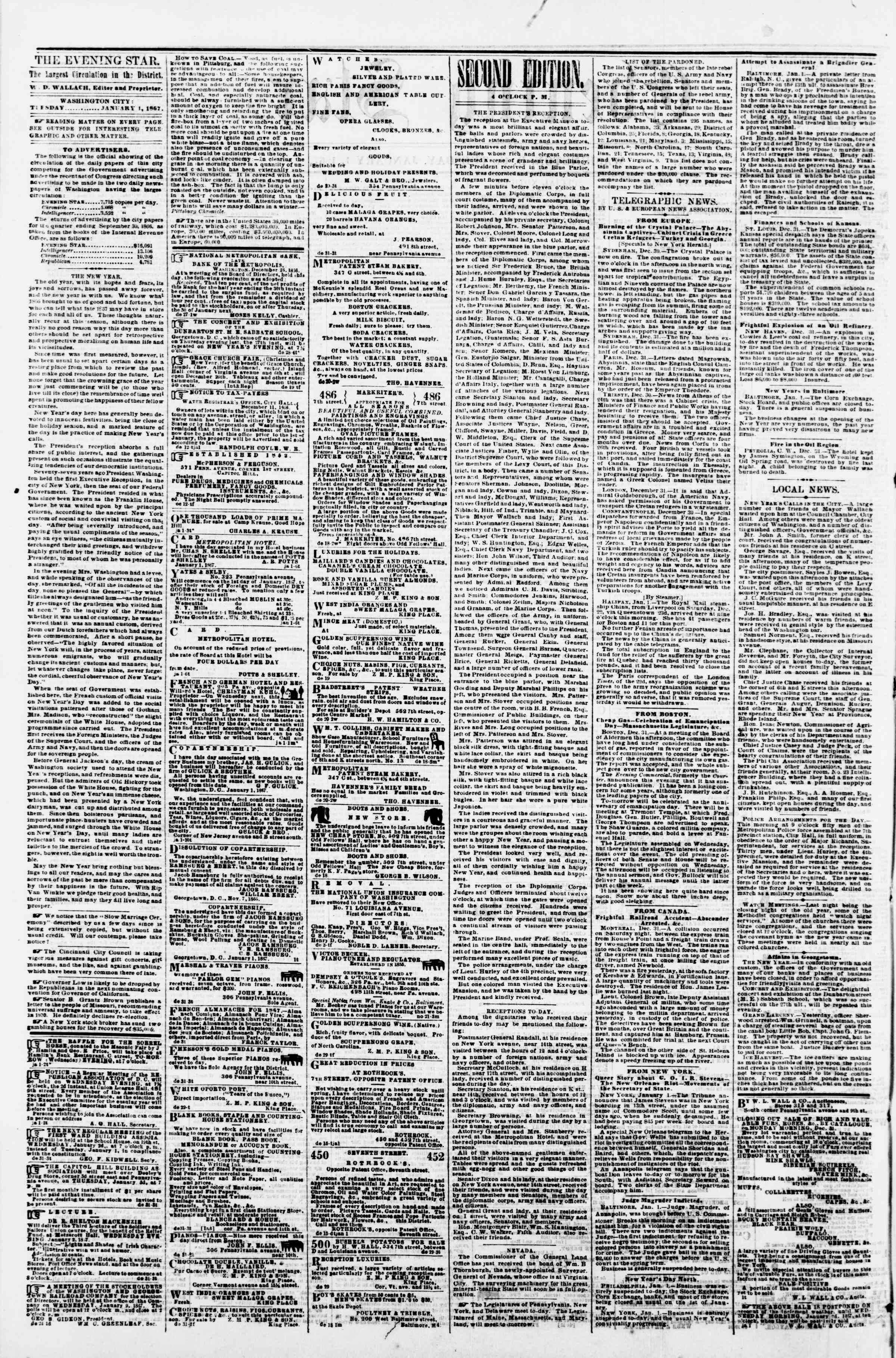 Newspaper of Evening Star dated January 1, 1867 Page 2