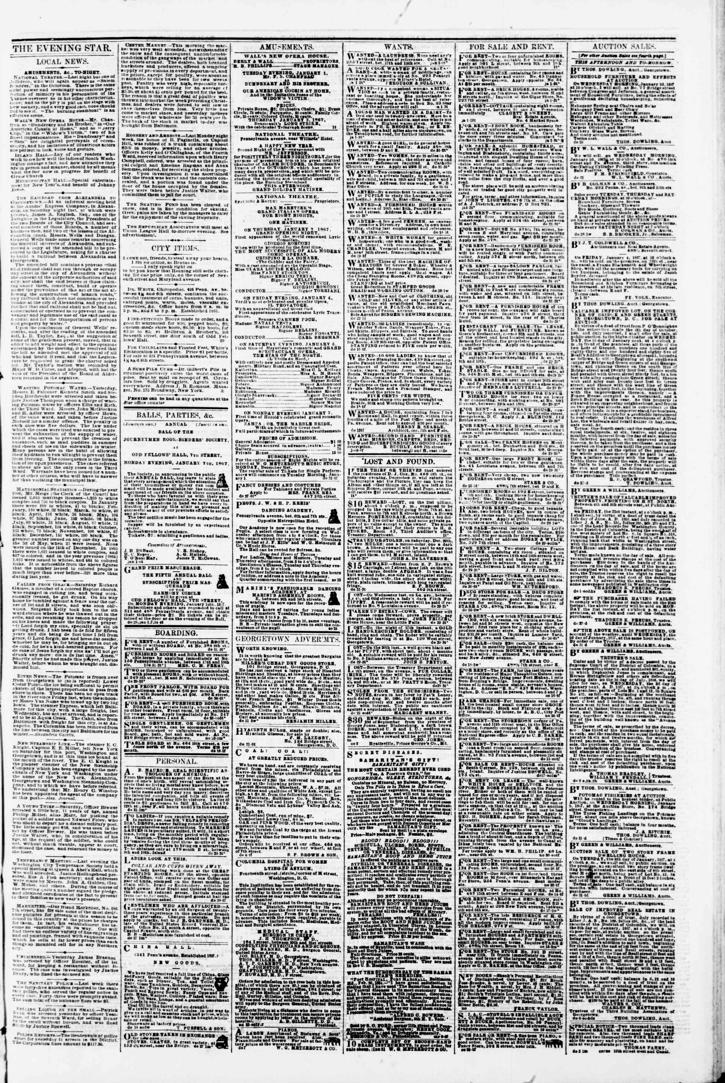 Newspaper of Evening Star dated January 1, 1867 Page 3