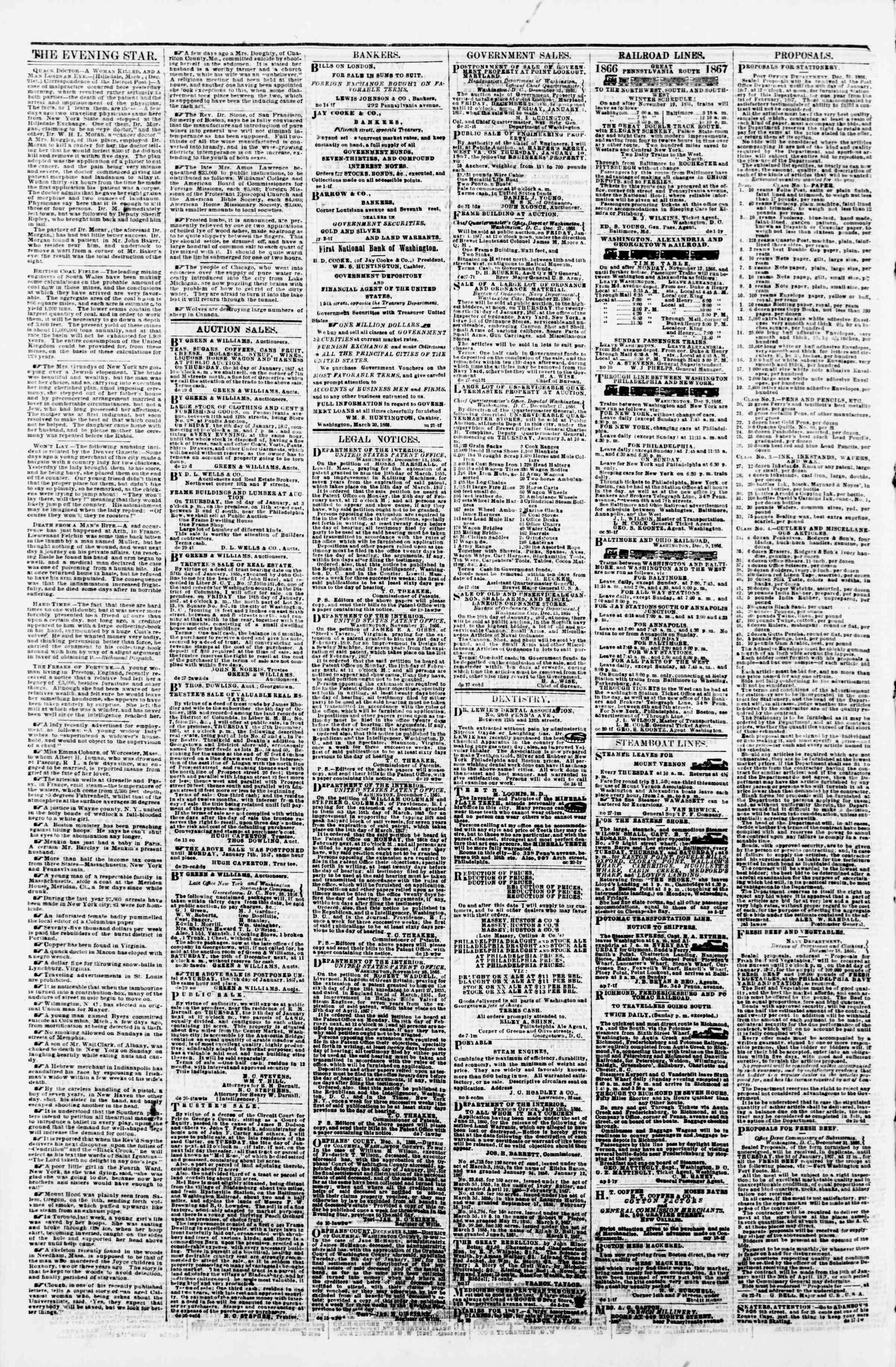 Newspaper of Evening Star dated January 1, 1867 Page 4