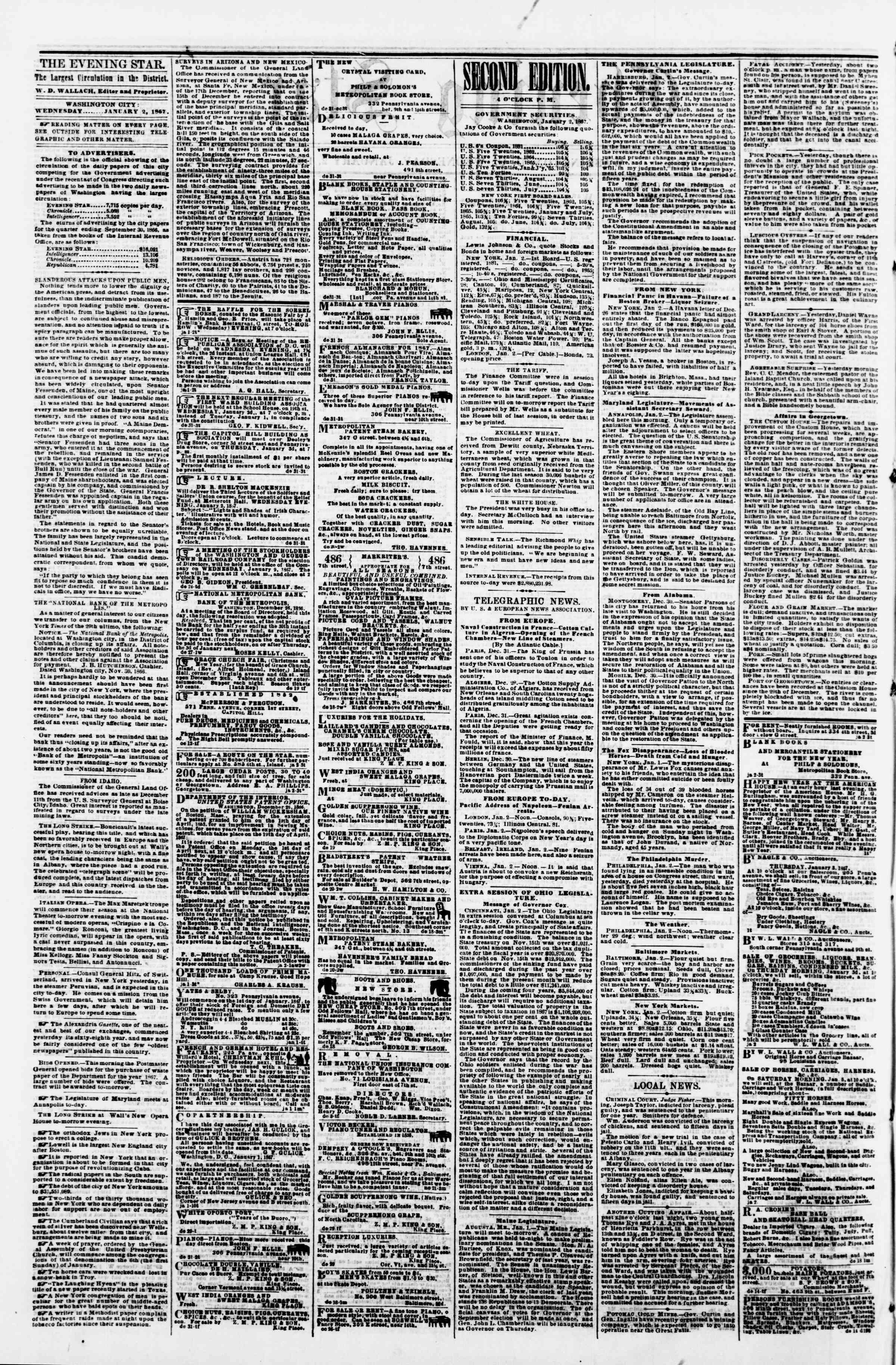 Newspaper of Evening Star dated January 2, 1867 Page 2