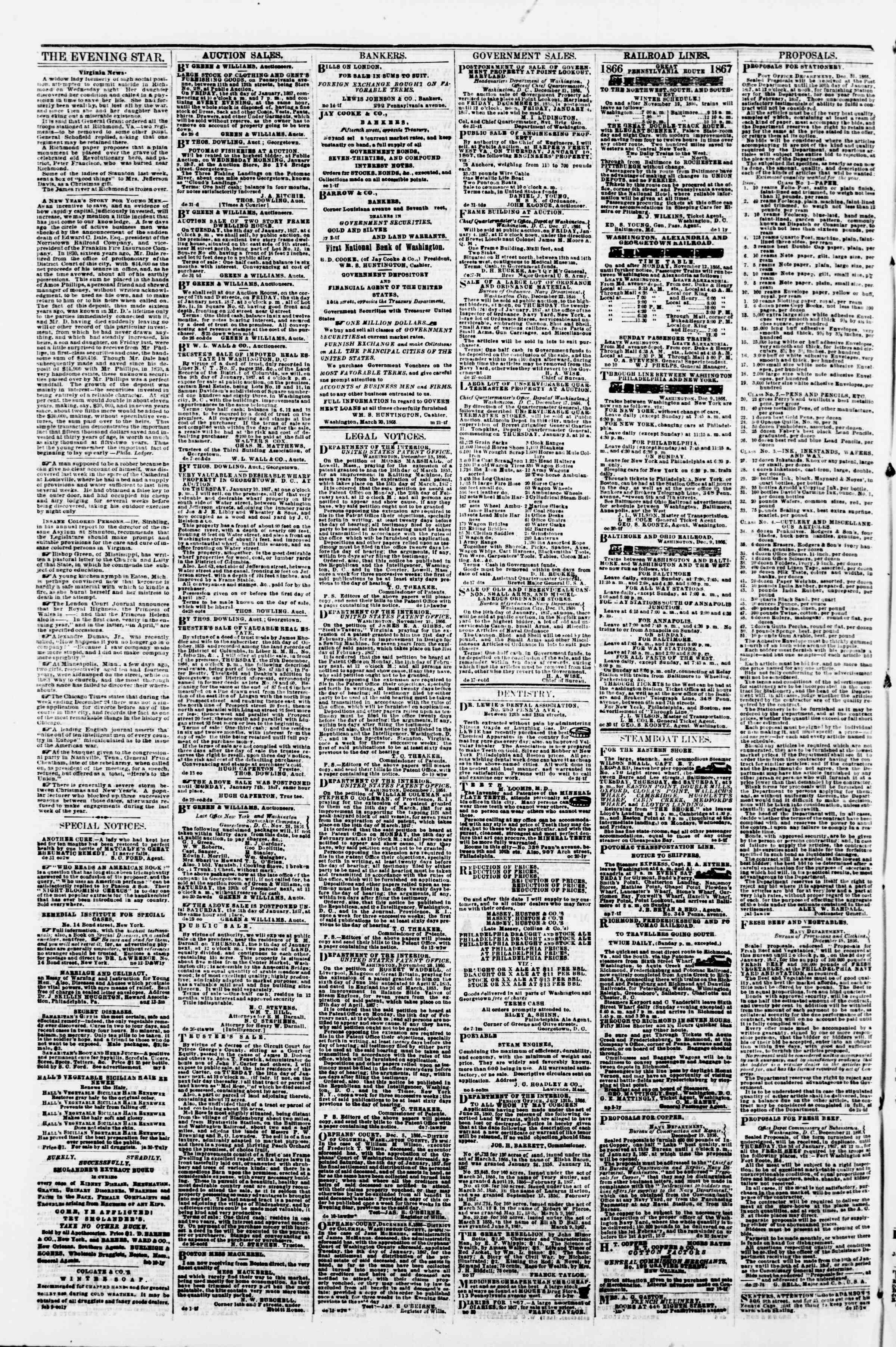 Newspaper of Evening Star dated January 2, 1867 Page 4