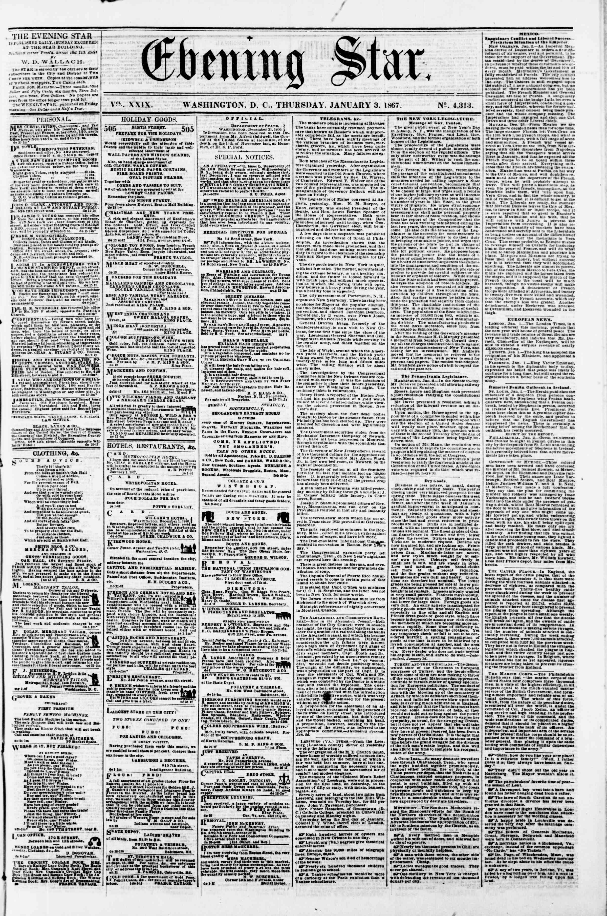 Newspaper of Evening Star dated 3 Ocak 1867 Page 1